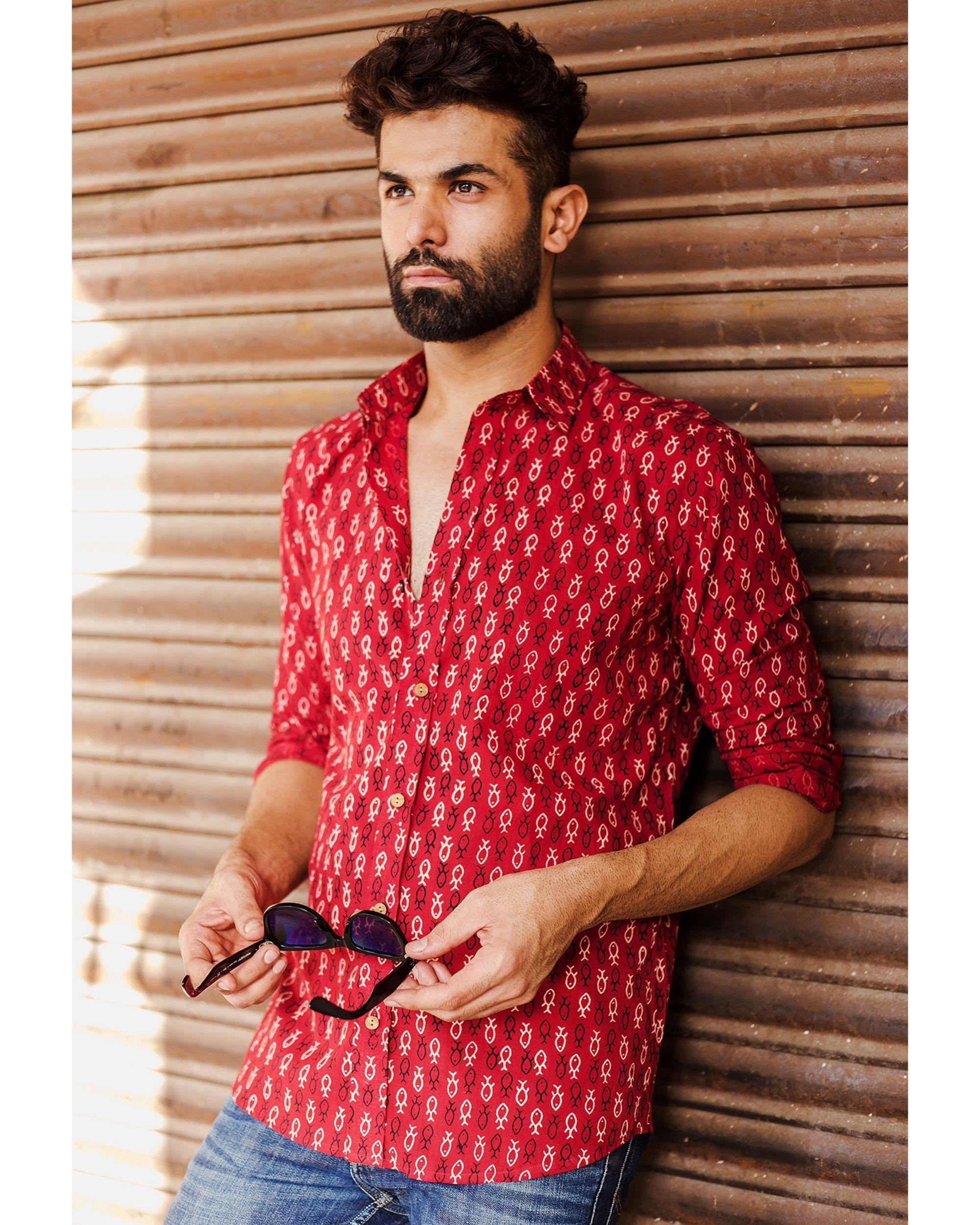 Red fish printed shirt