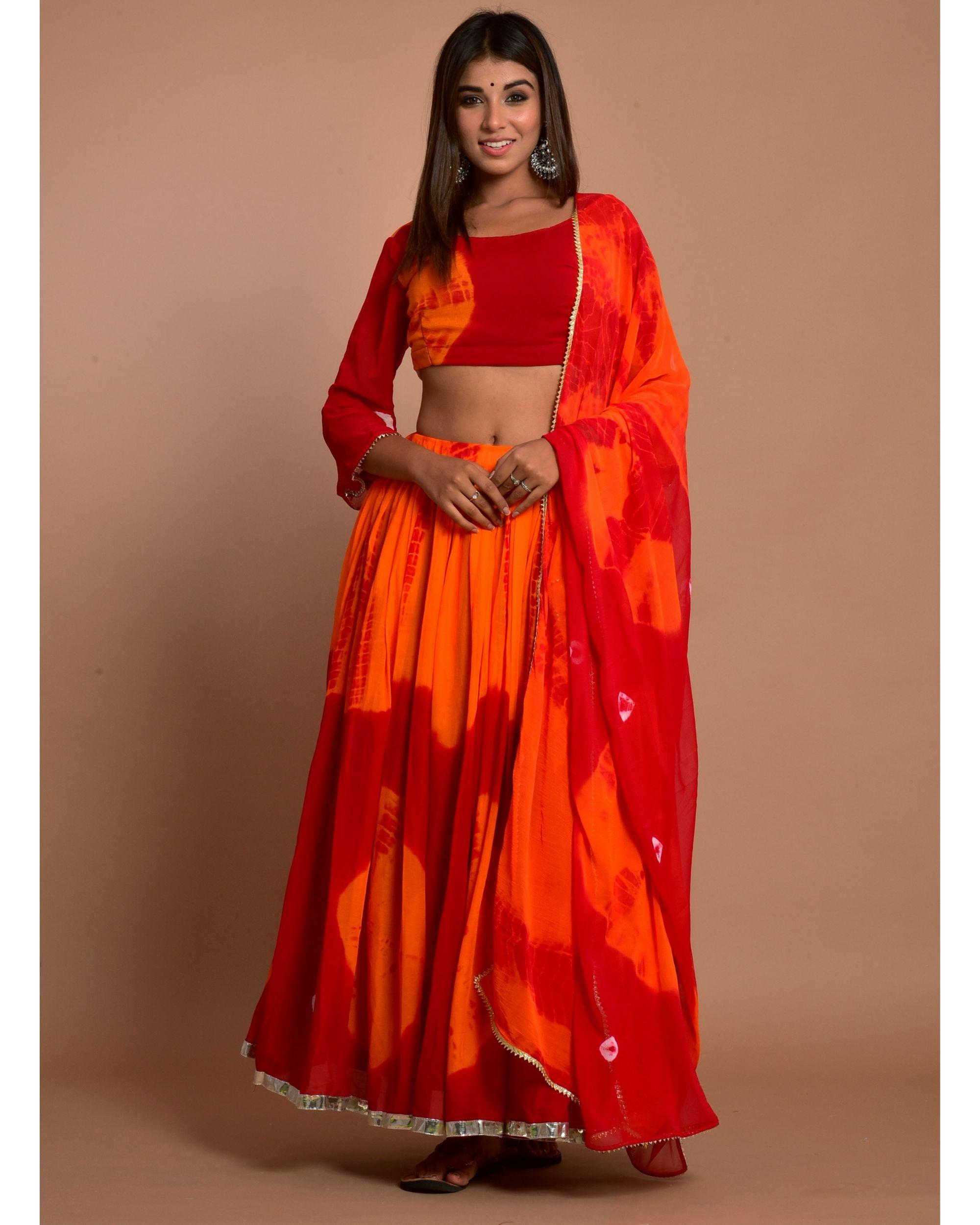 Marsala red tie and dye choli and lehenga with dupatta - Set Of Three