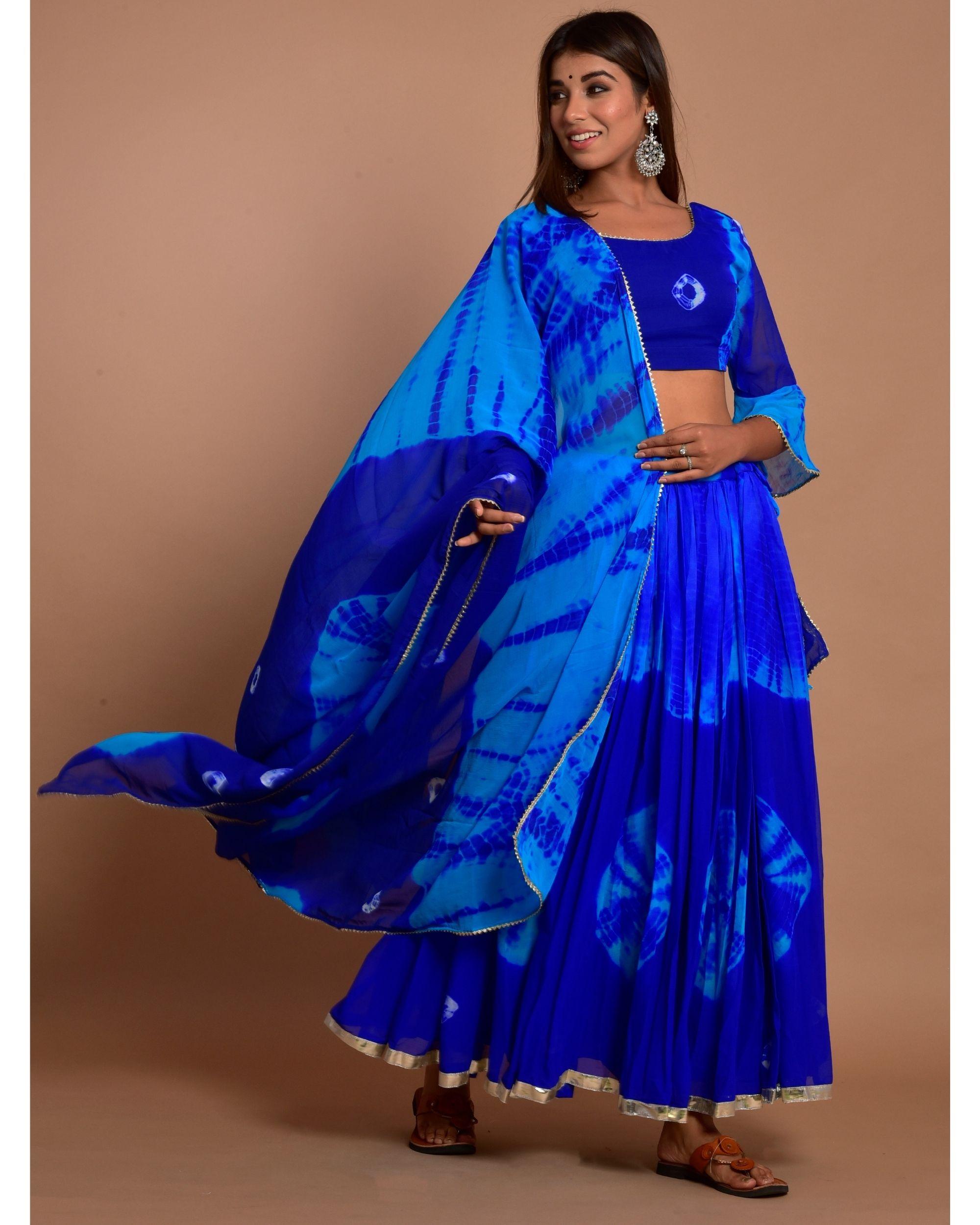 Blue tie and dye choli and gota lehenga with dupatta - Set Of Three