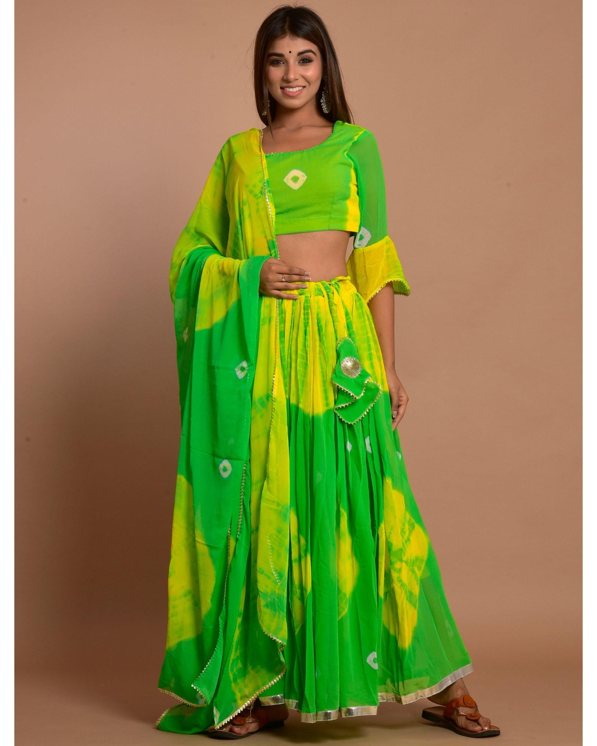 Green and yellow tie and dye choli and lehenga with dupatta - Set Of Three