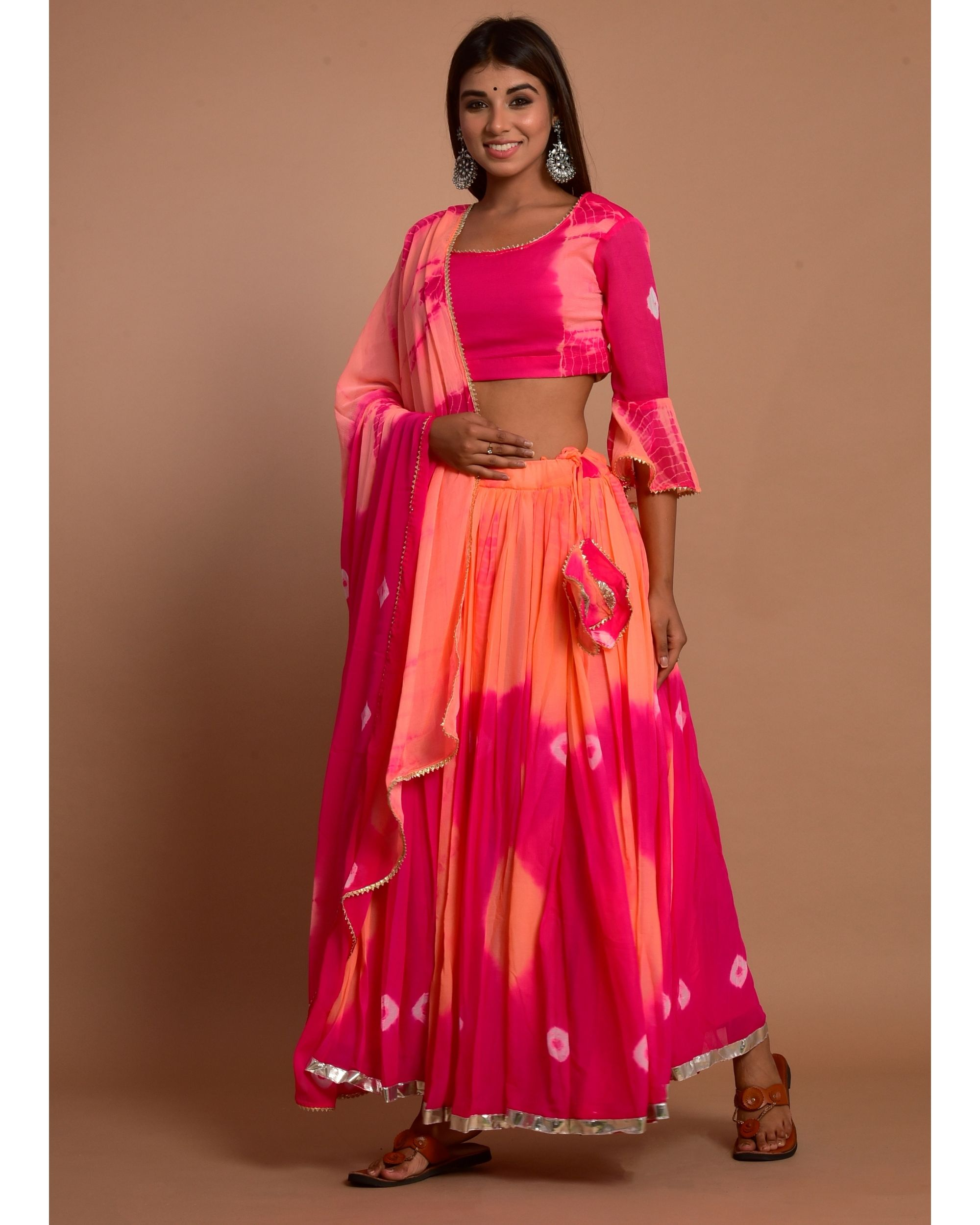 Hot pink and peach tie and dye choli and lehenga with dupatta - Set Of Three