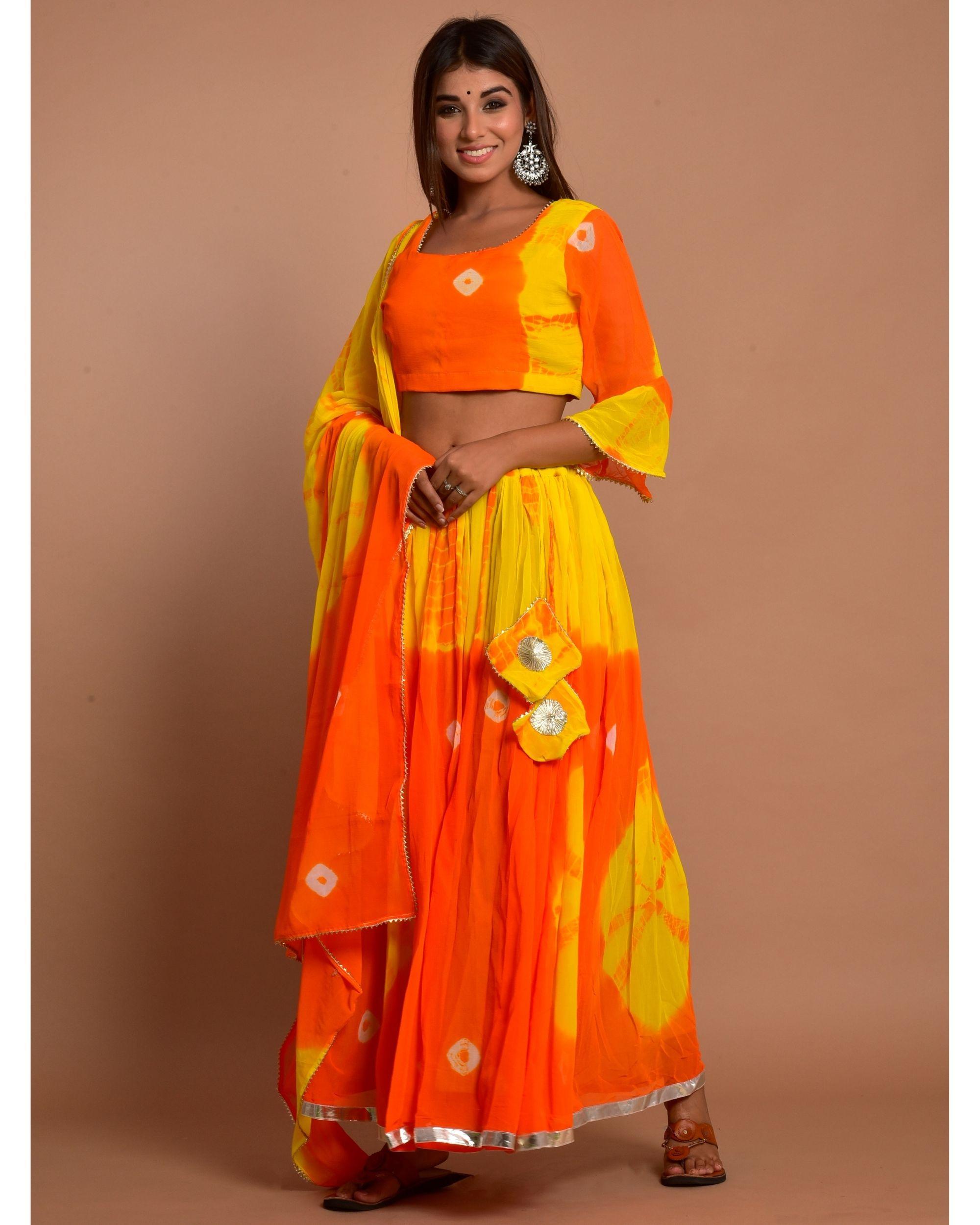 Orange and yellow tie and dye choli and lehenga with dupatta - Set Of Three