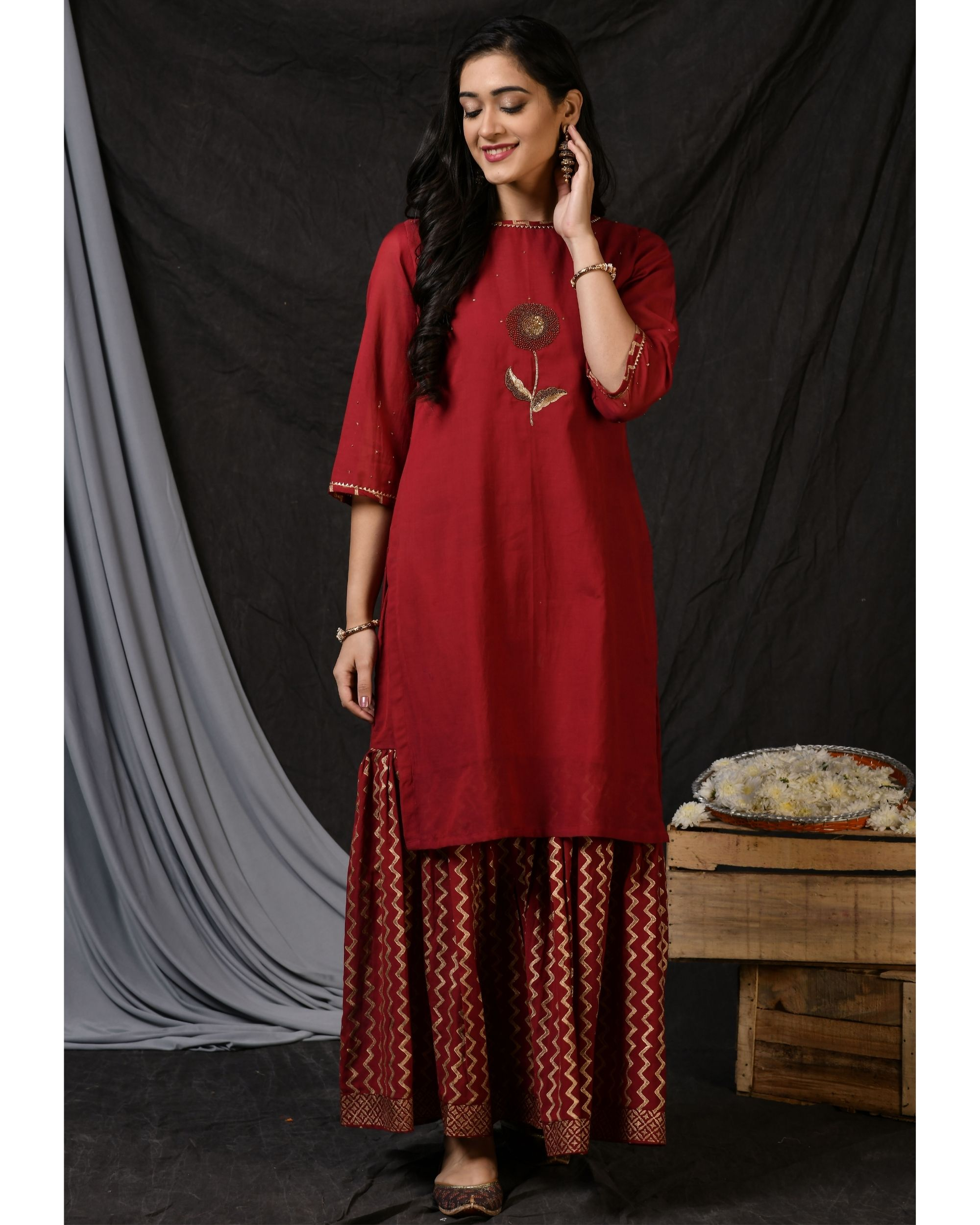 Maroon floral embroidered sushi voile kurta