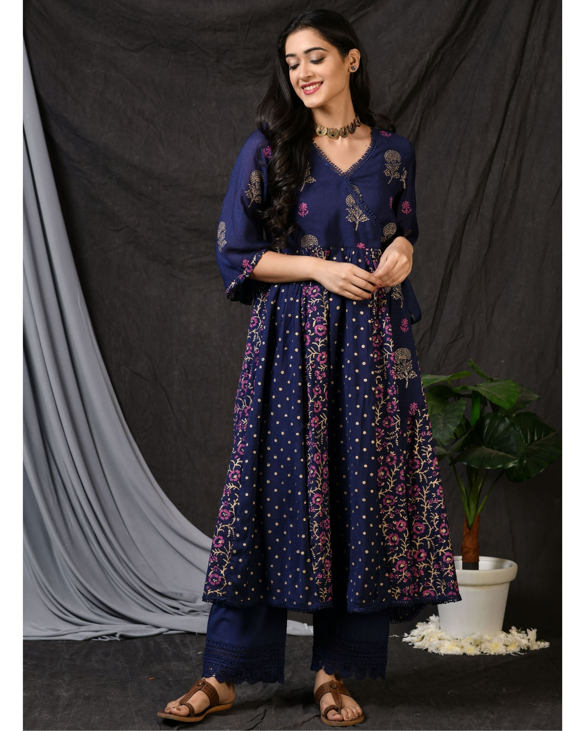 Blue block printed gathered anarkali kurta