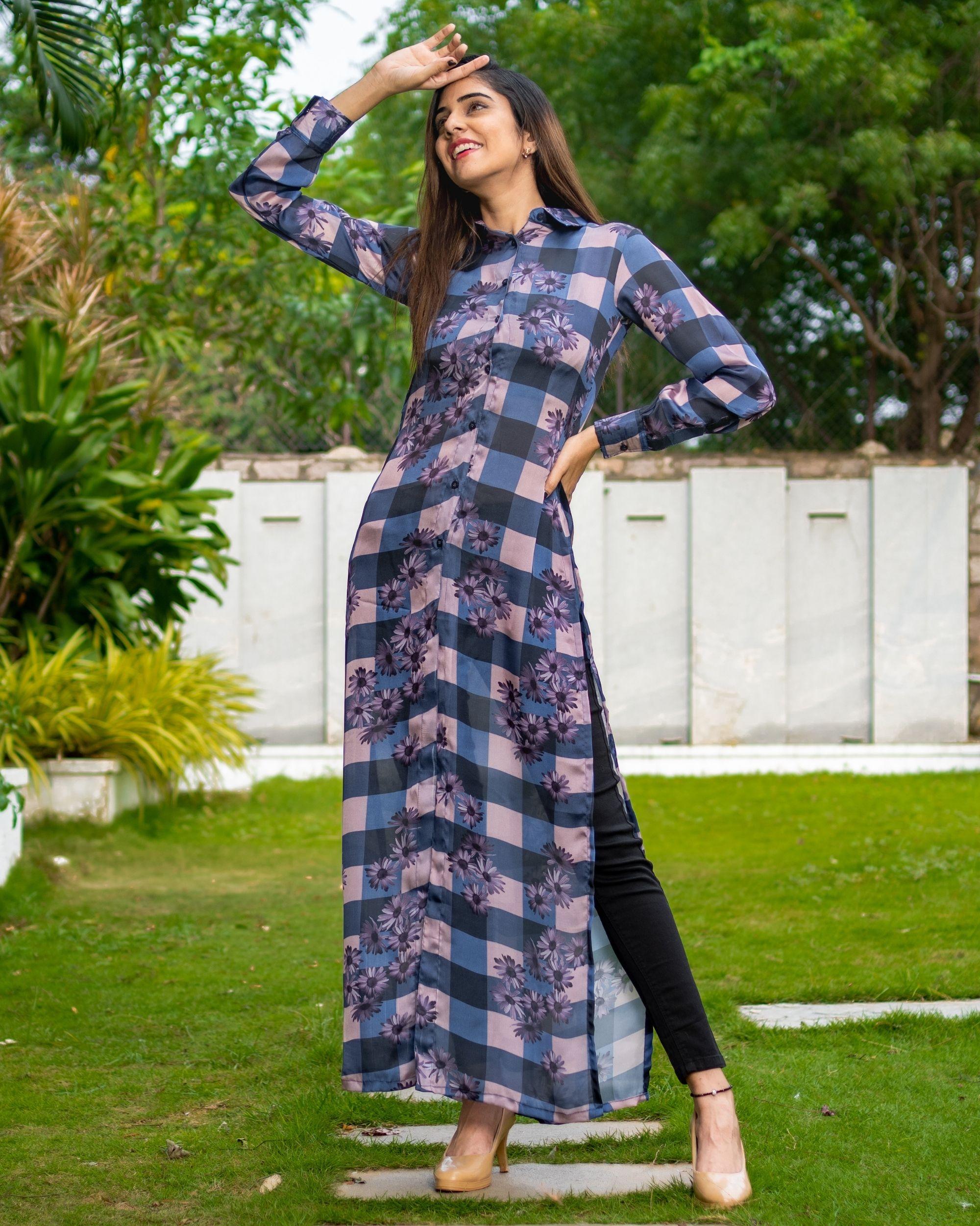 Blue and black checks printed slit dress
