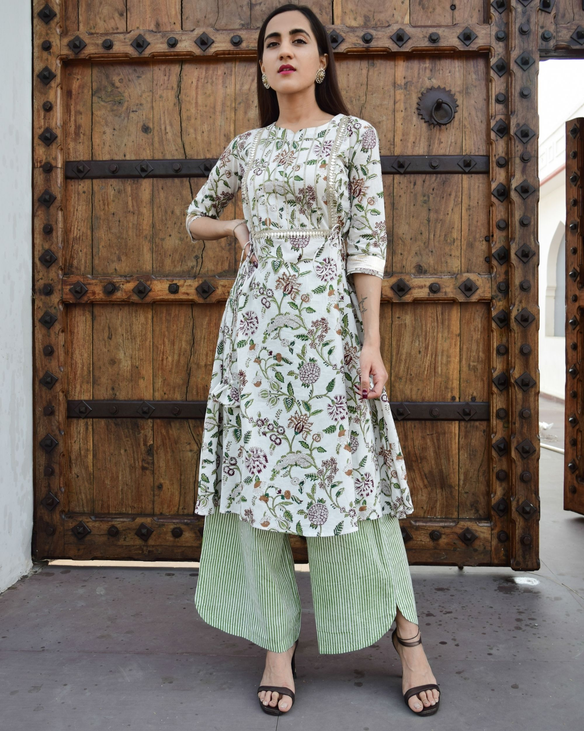 Aaina side tie up kurta with asymmetric pants - set of two