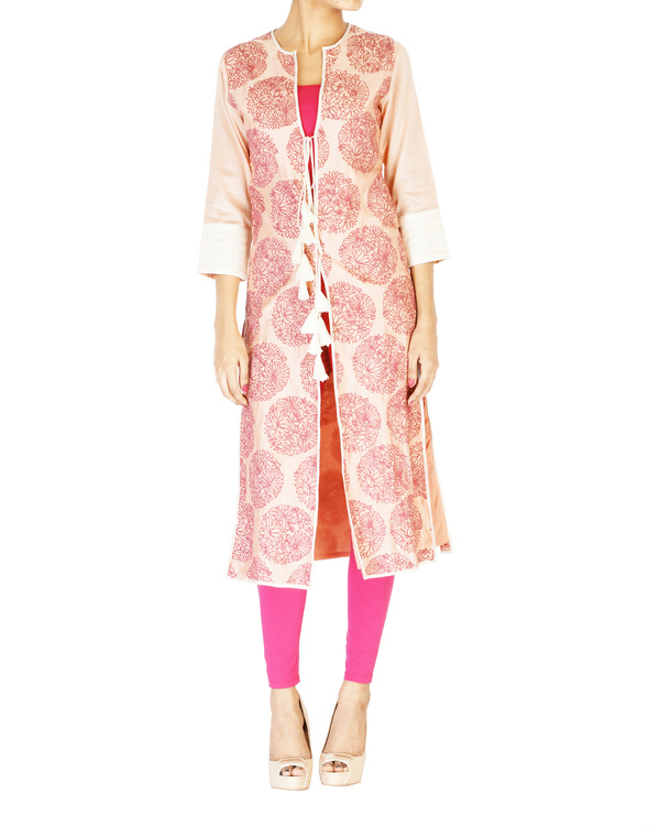 Pink embroidered jacket with ombre kurta set