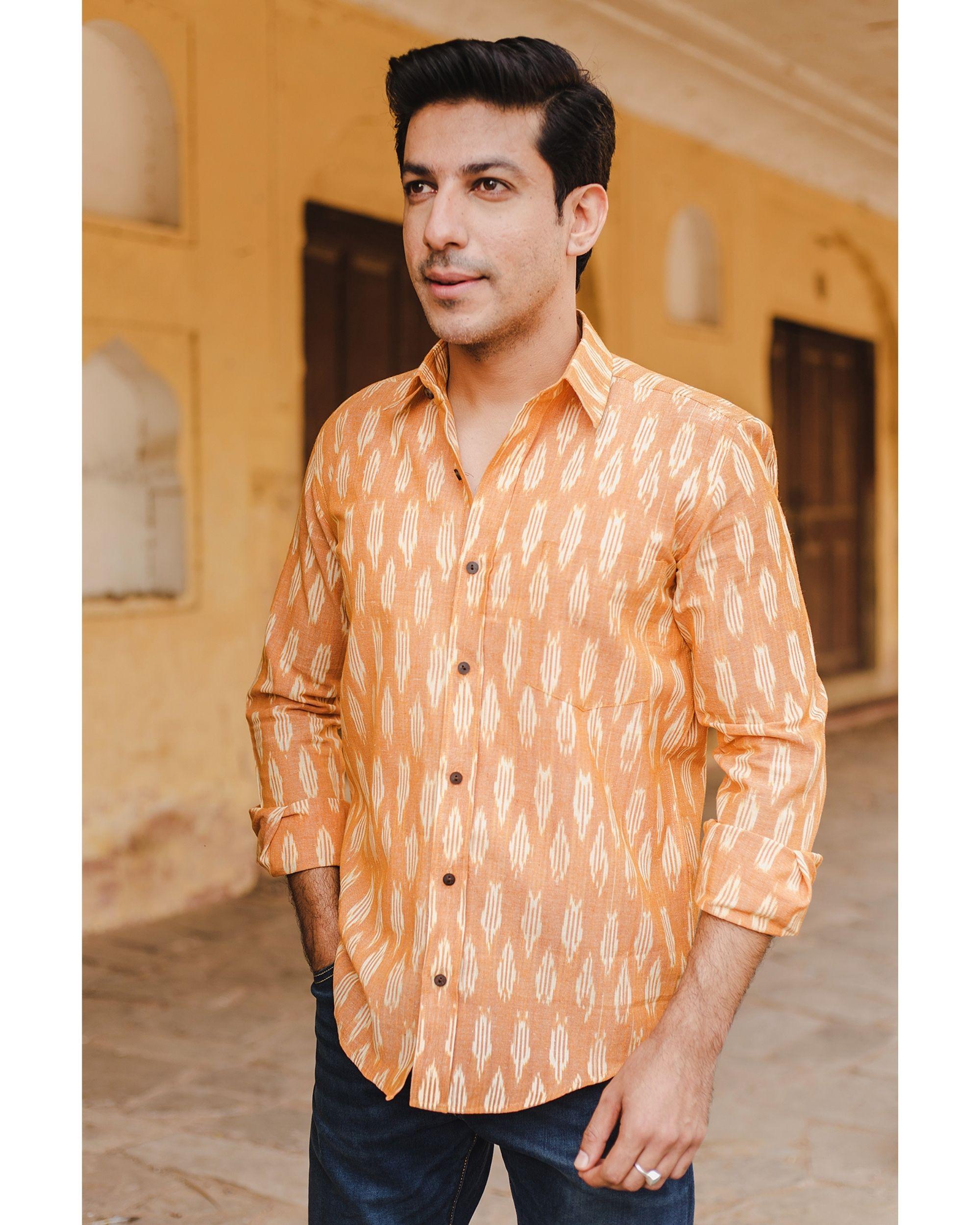 Yellow and white ikat shirt