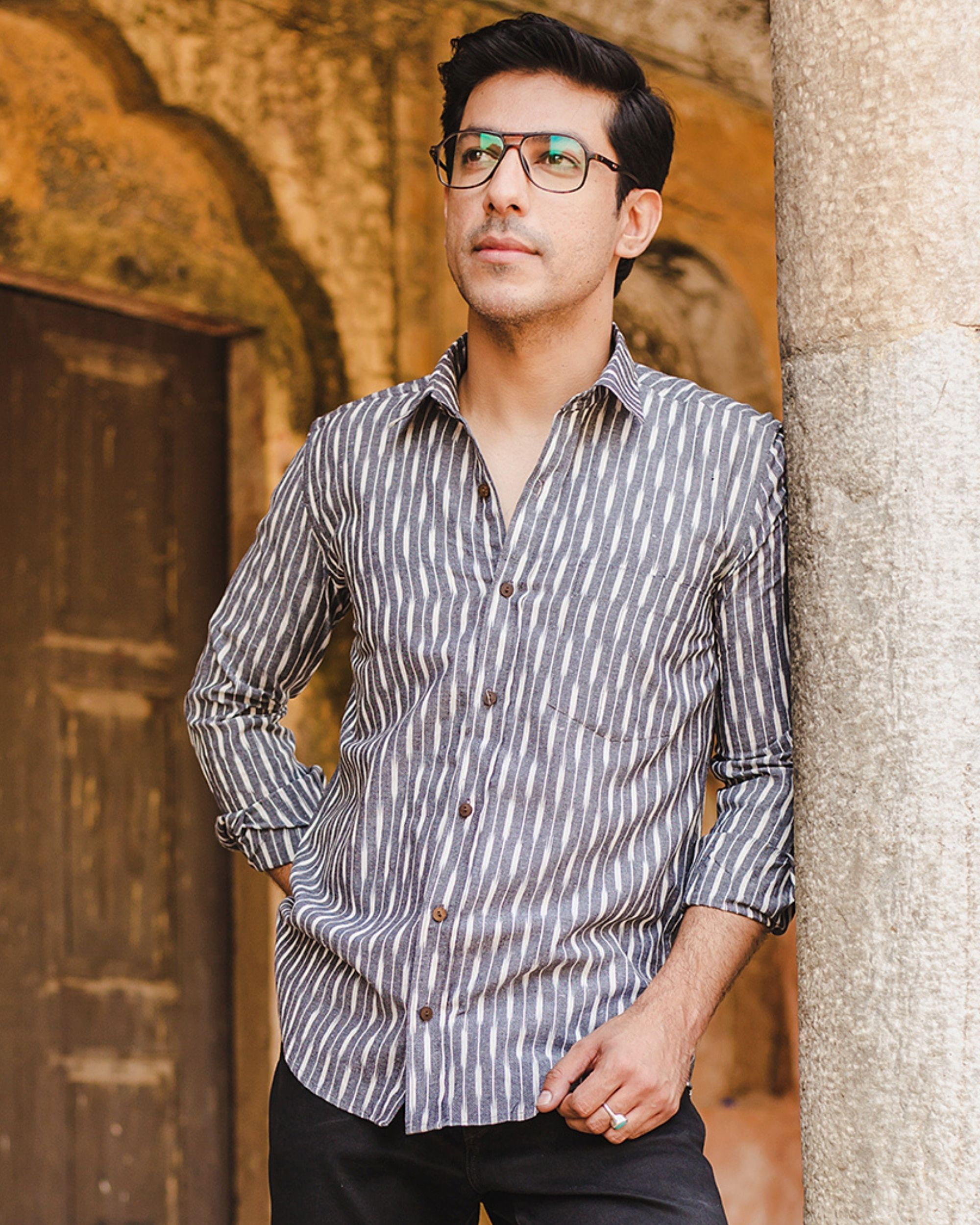 Grey and white striped ikat shirt