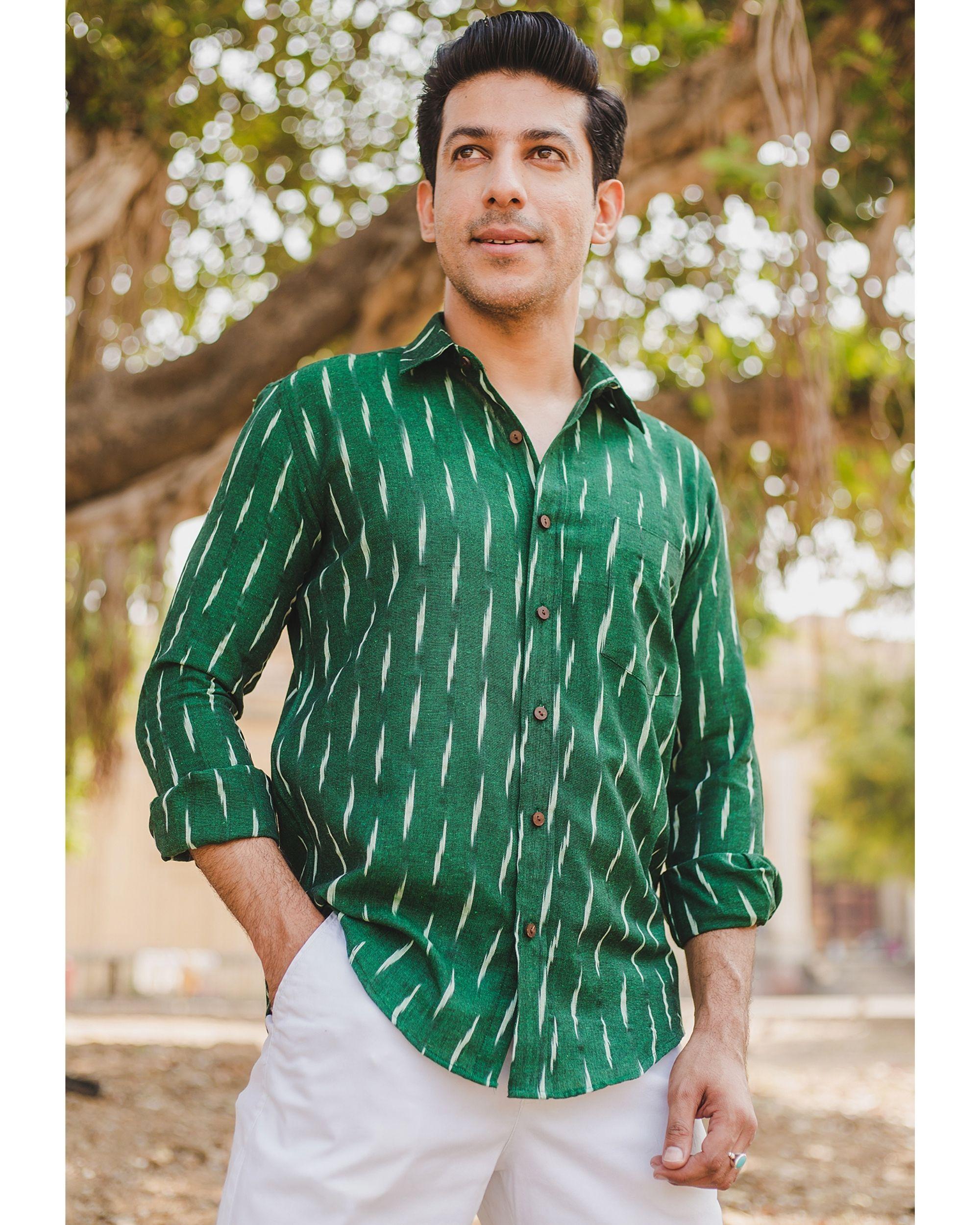 Green handloom cotton ikat shirt