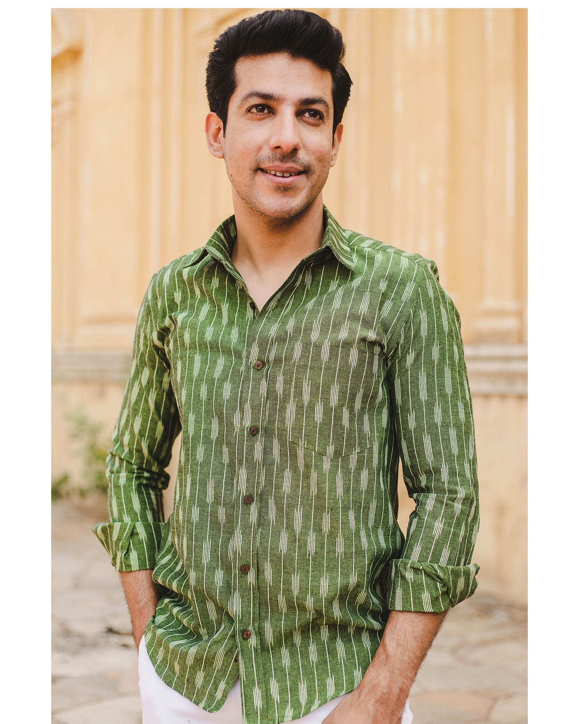 Leaf green striped ikat shirt
