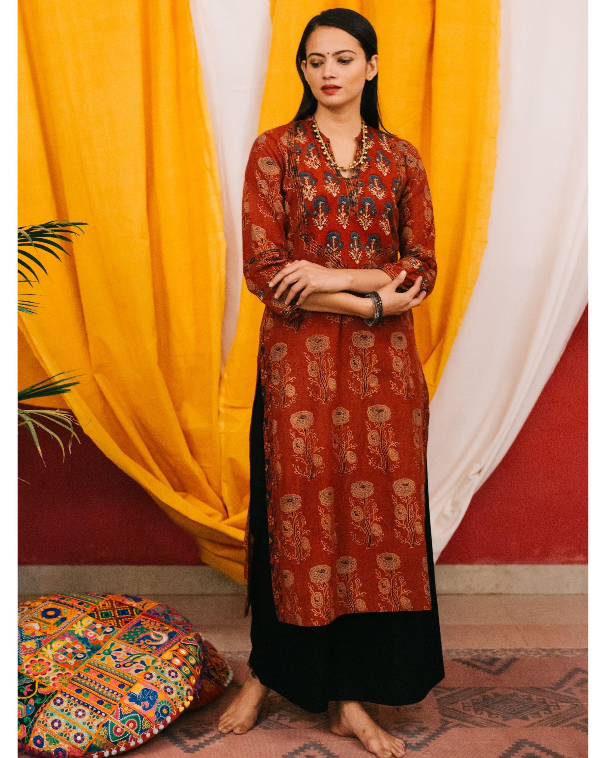 Red ajrakh boota kurta with yoke detailing and black palazzos - set of 2