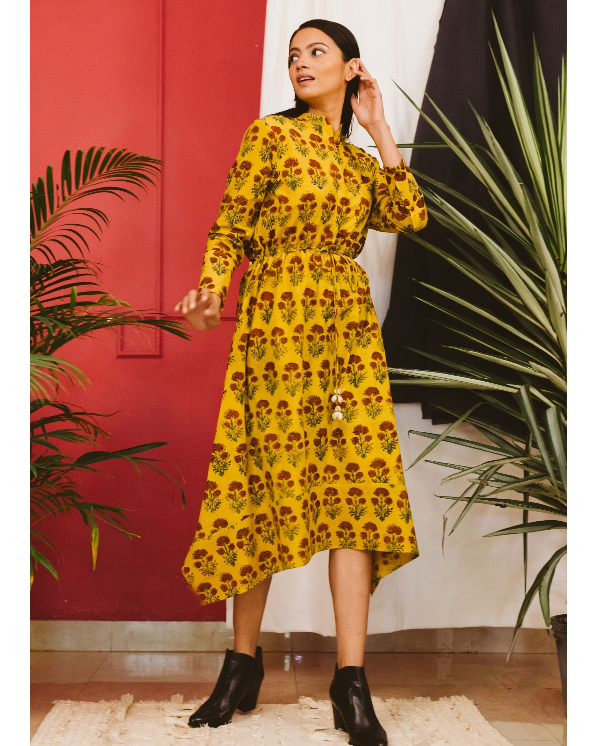 Yellow ajrakh dress
