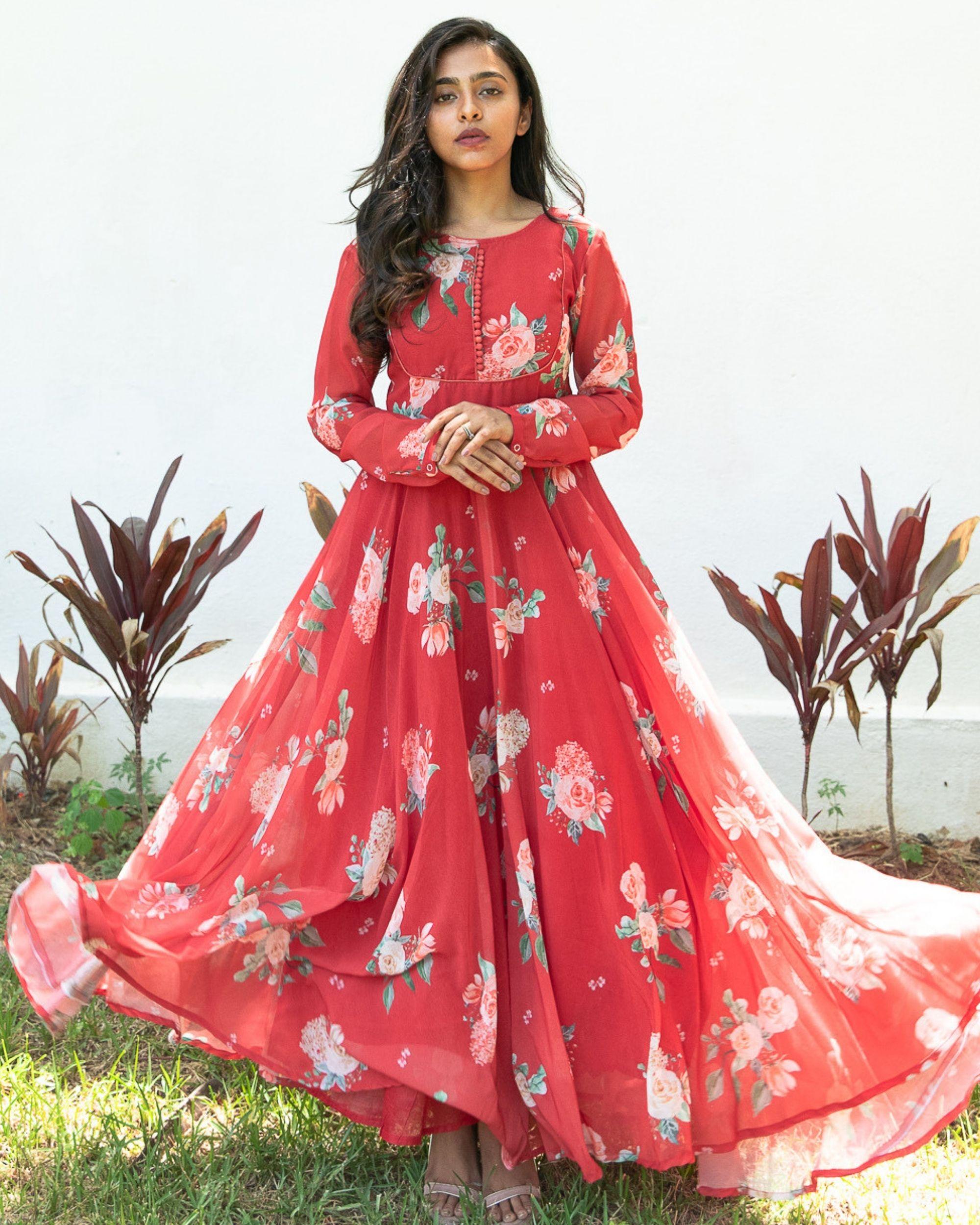 Red floral georgette dress