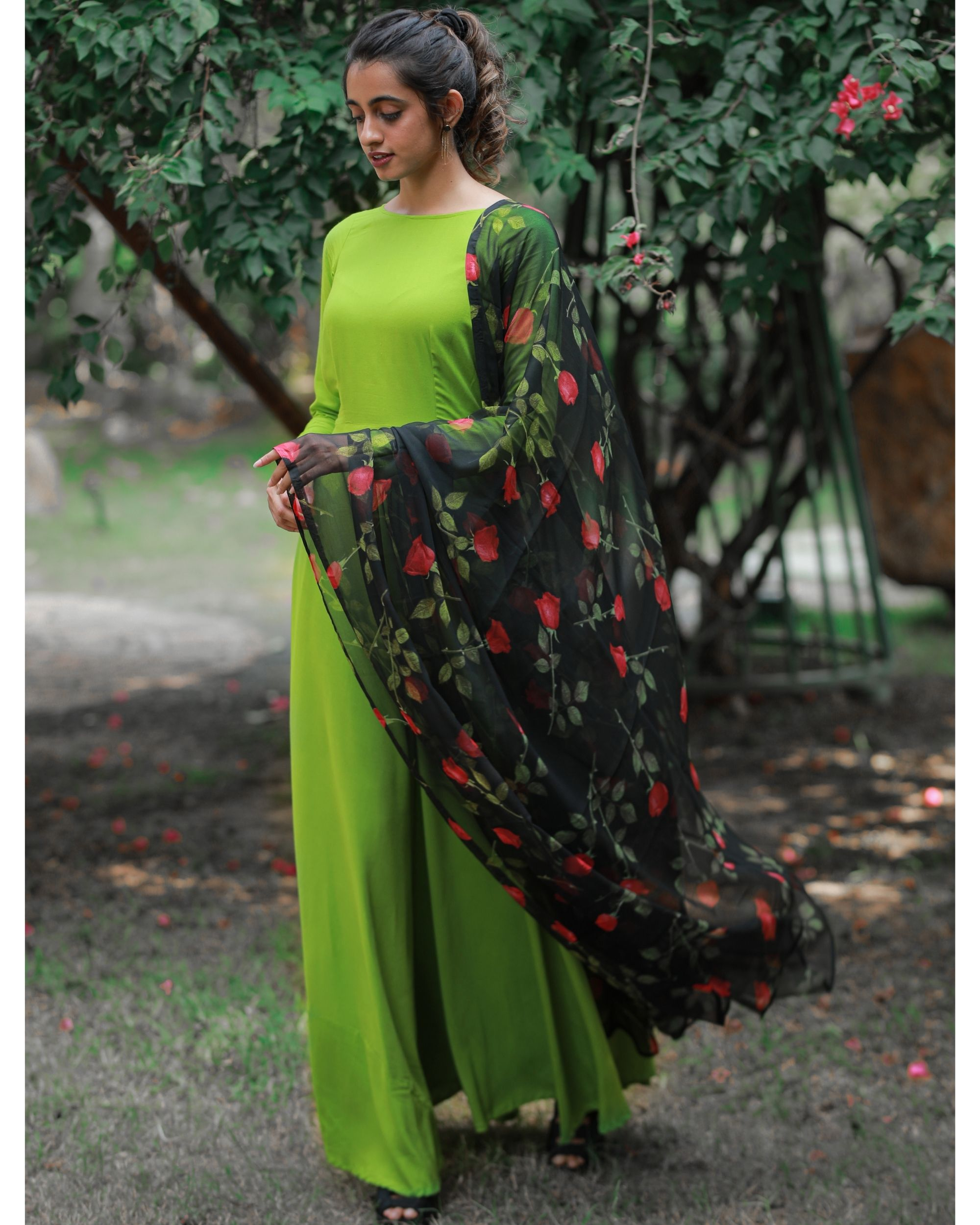 Pear green dress with floral dupatta