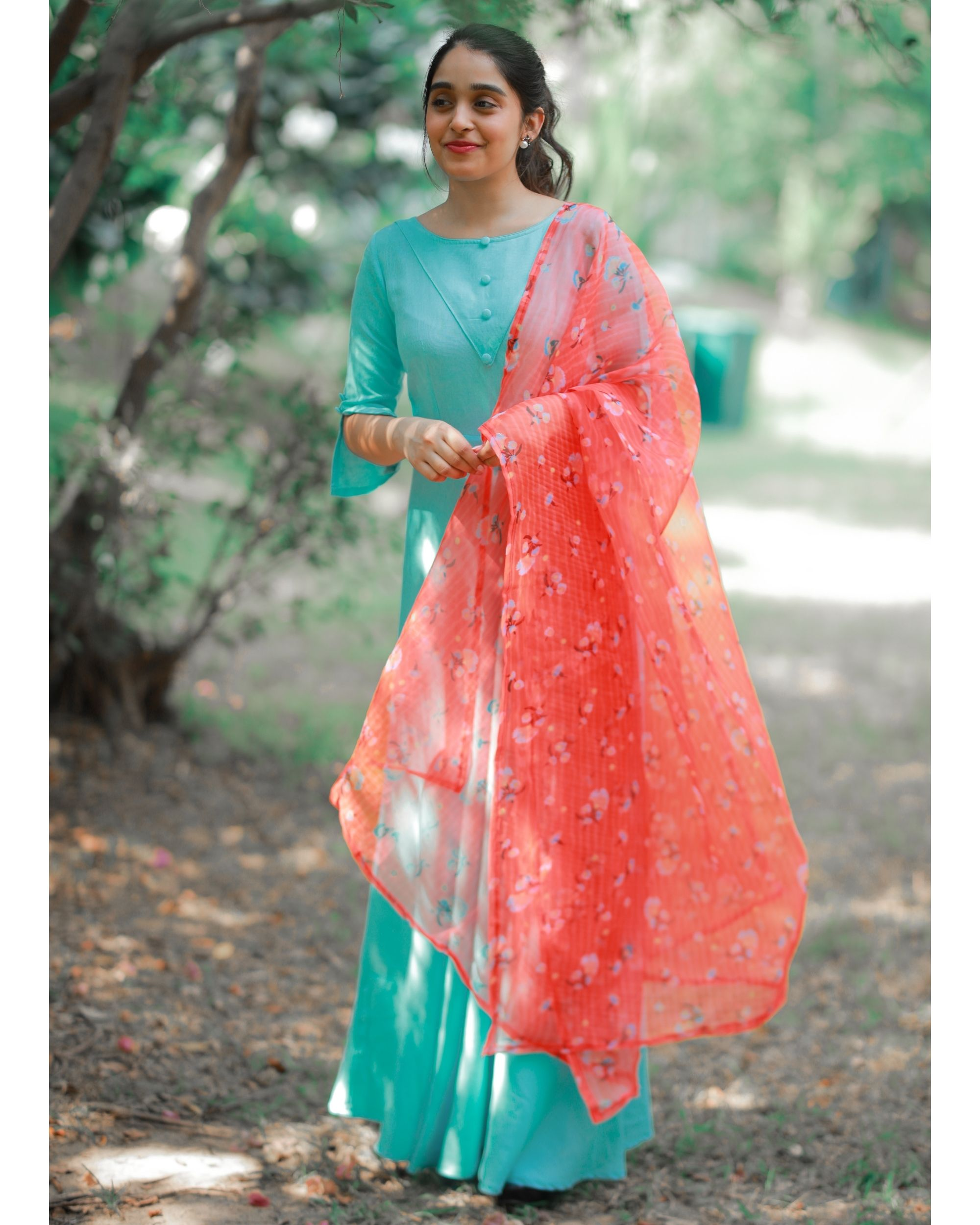 Sky button dress with dupatta