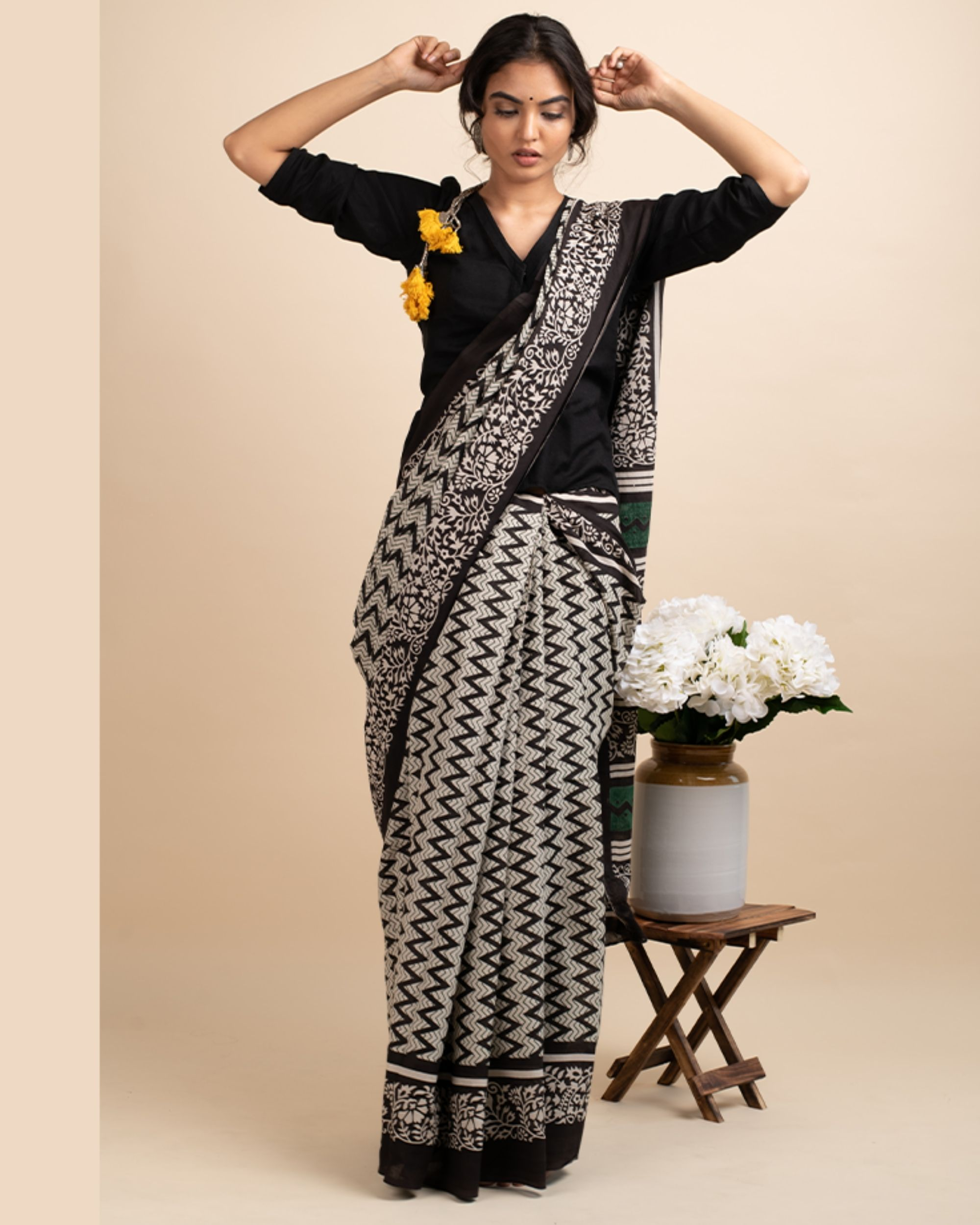 Black zigzag sari with attached blouse piece