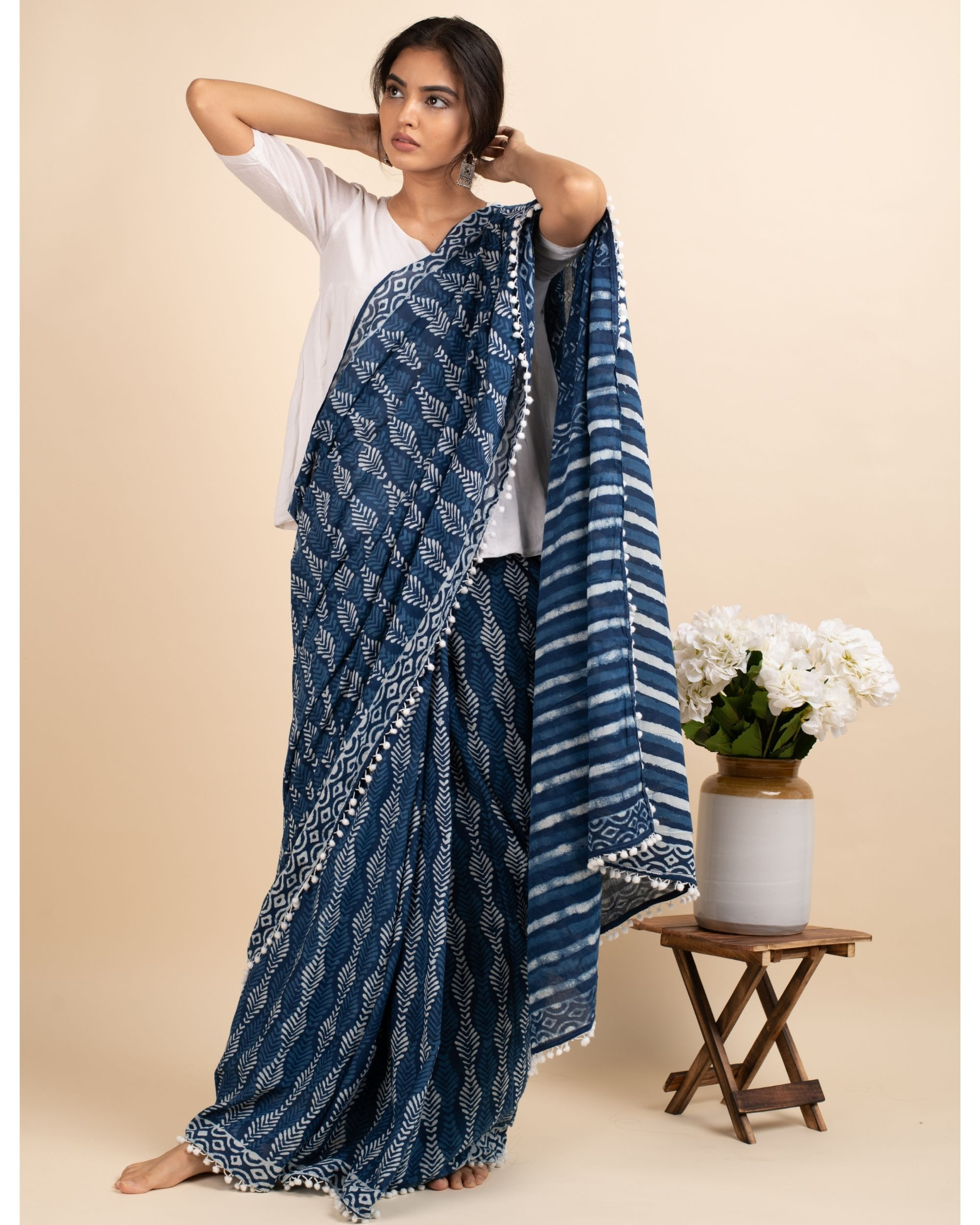 Indigo skies sari with attached blouse piece