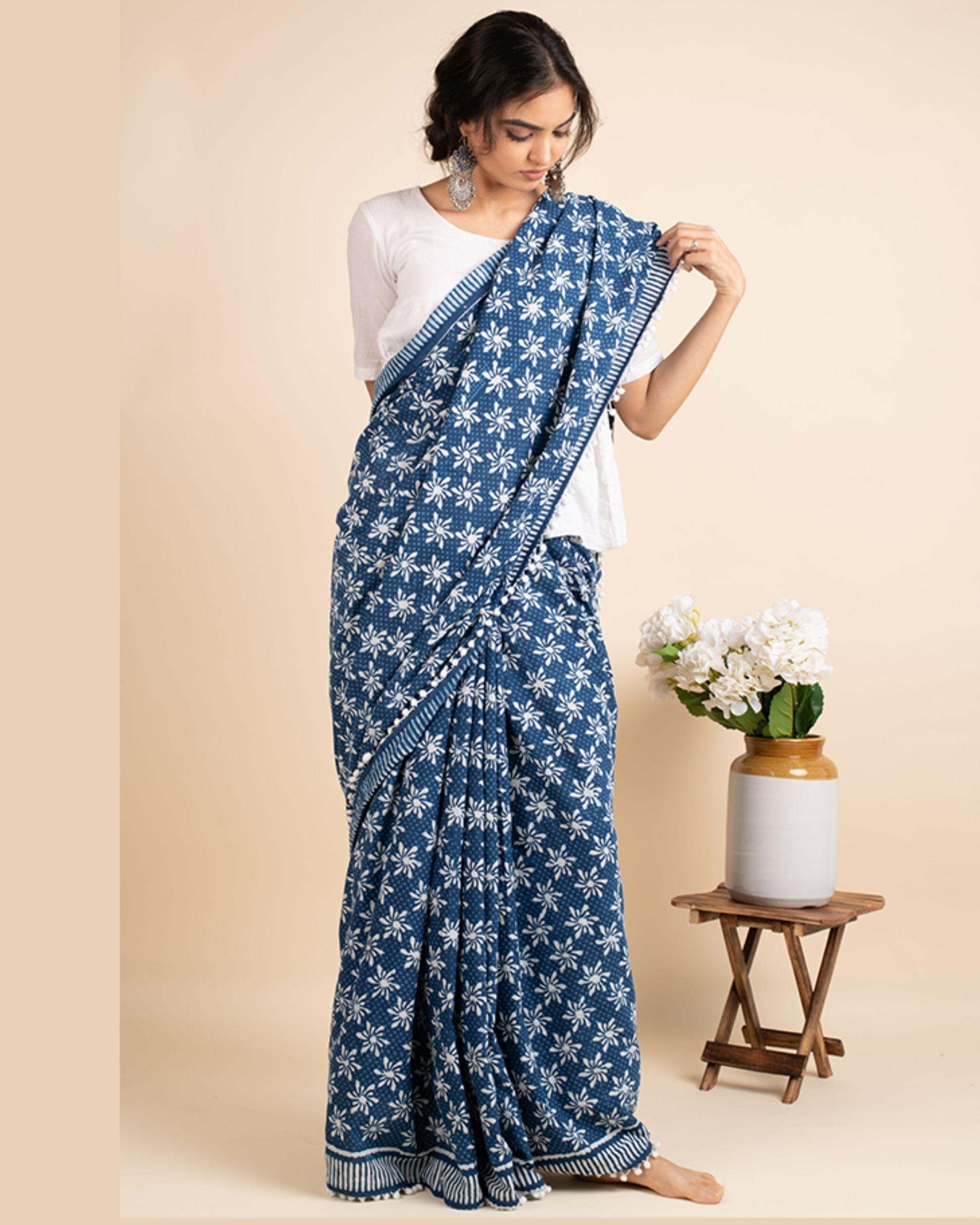 Indigo cotton lace sari with attached blouse piece