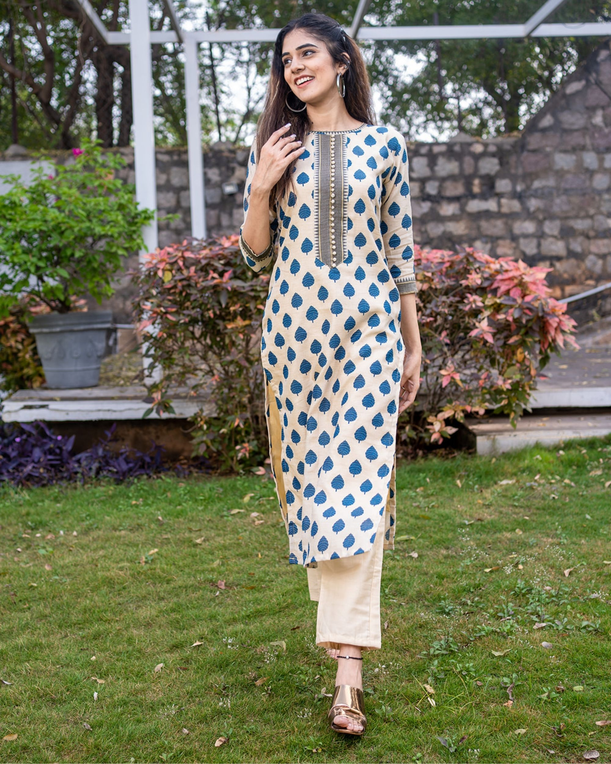 Beige and blue boota kurta with pants - set of two