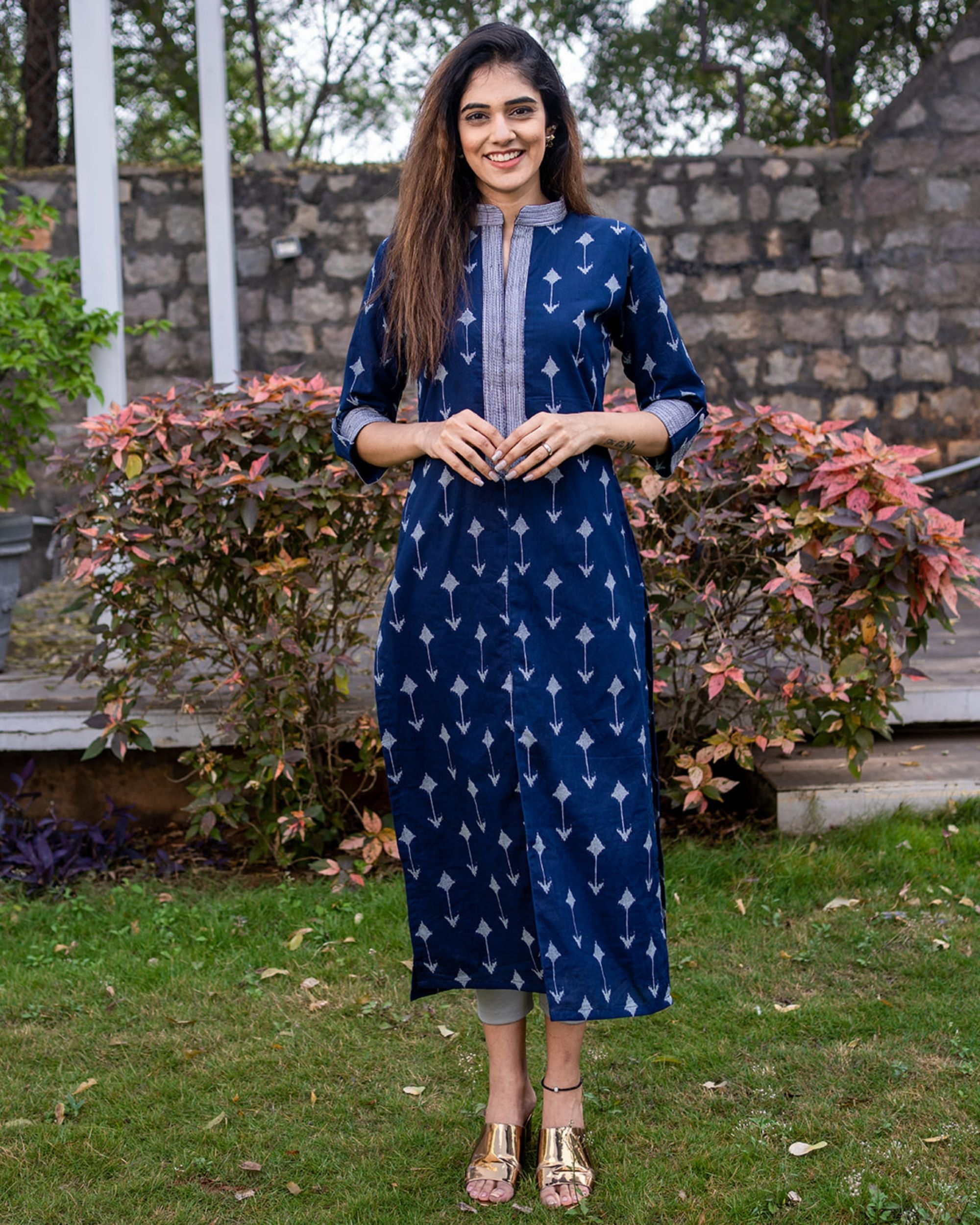 Navy arrow kurta