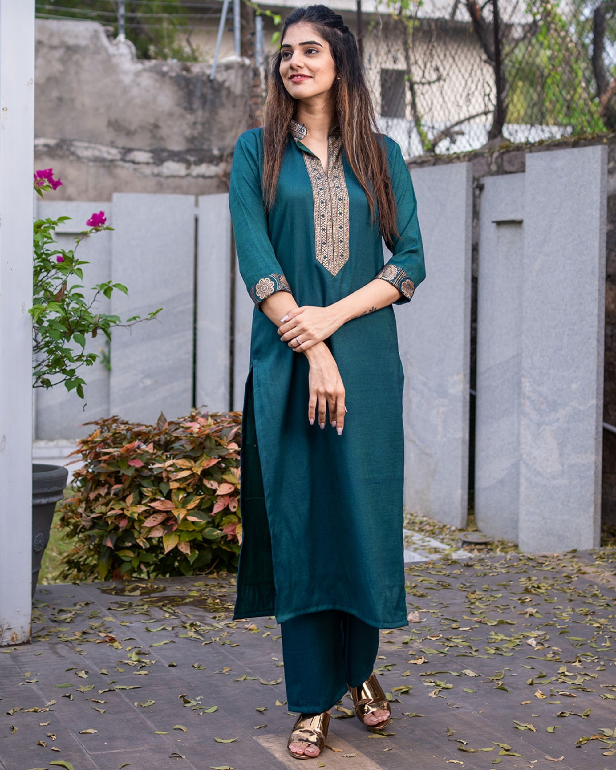 Teal green kurta set - set of two