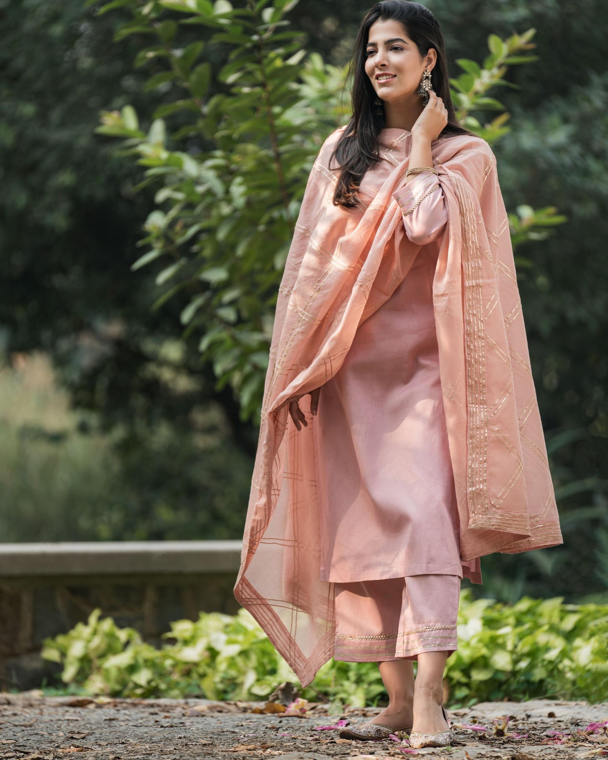 Earthy pink gota work suit set with dupatta - set of three