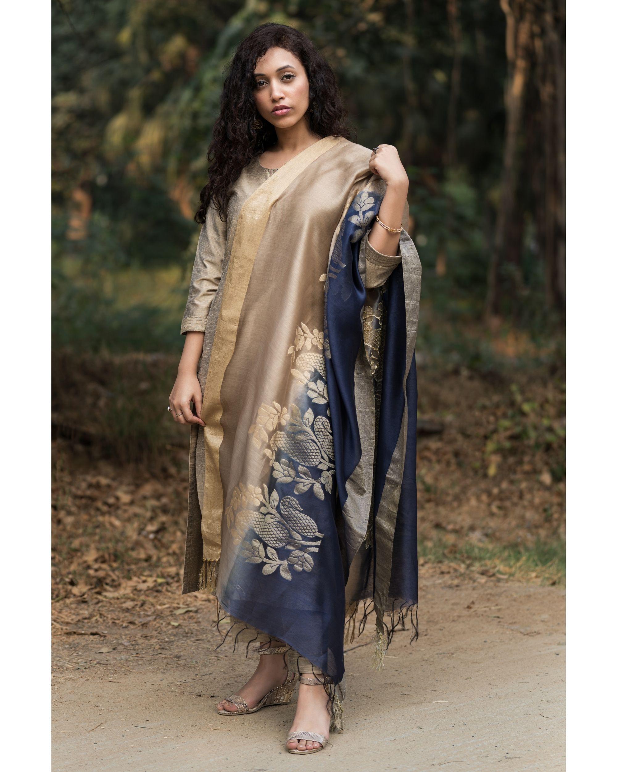 Fawn cotton silk set with chanderi benarasi dupatta - set of three
