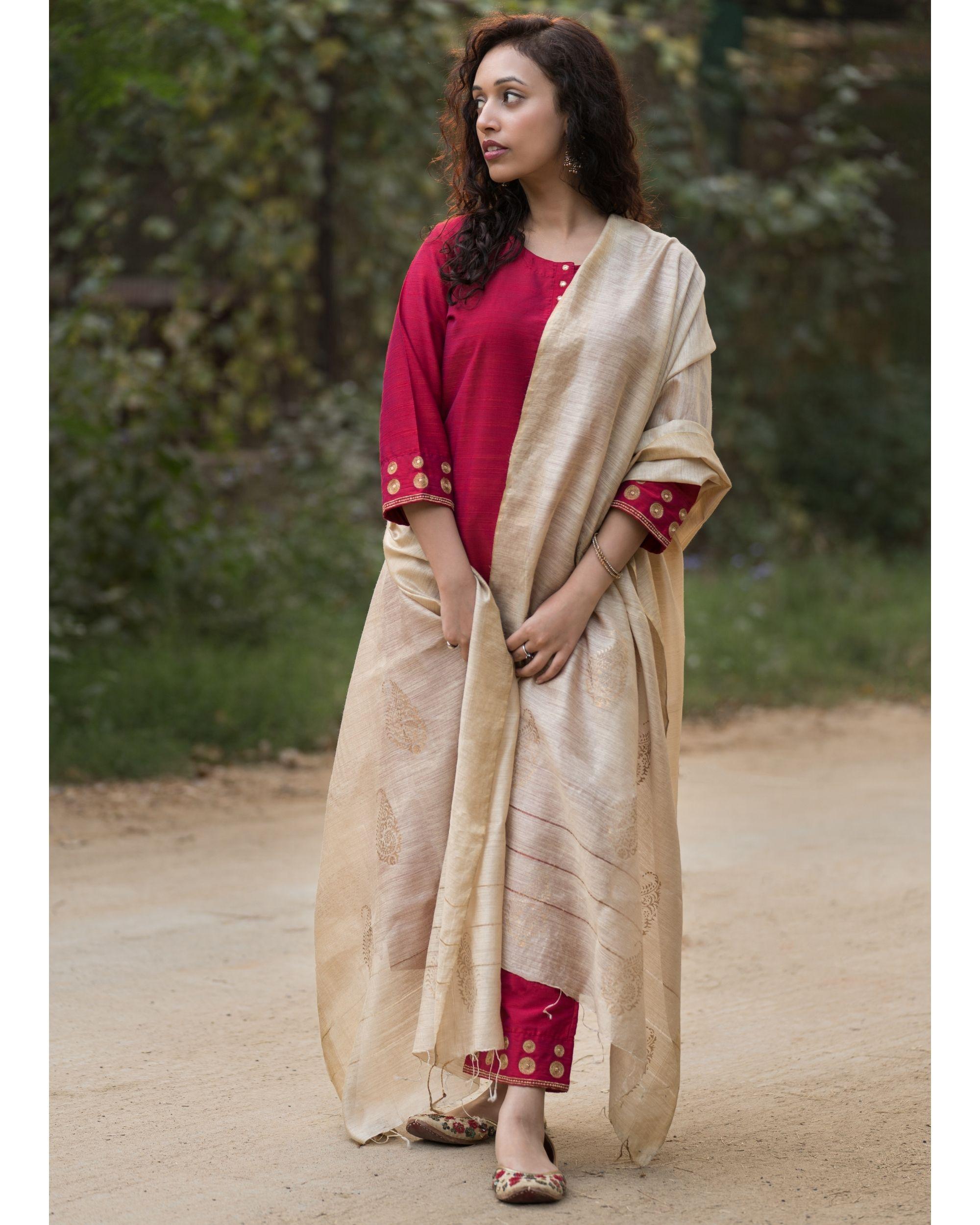 Magenta cotton silk suit set with beige moga silk dupatta - set of three