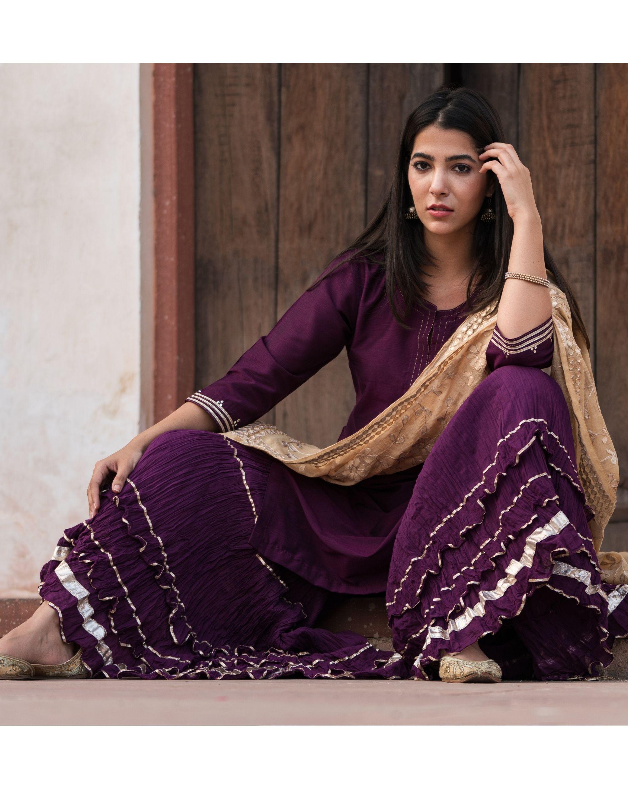 Purple sharara set with gota patti chanderi dupatta - set of three