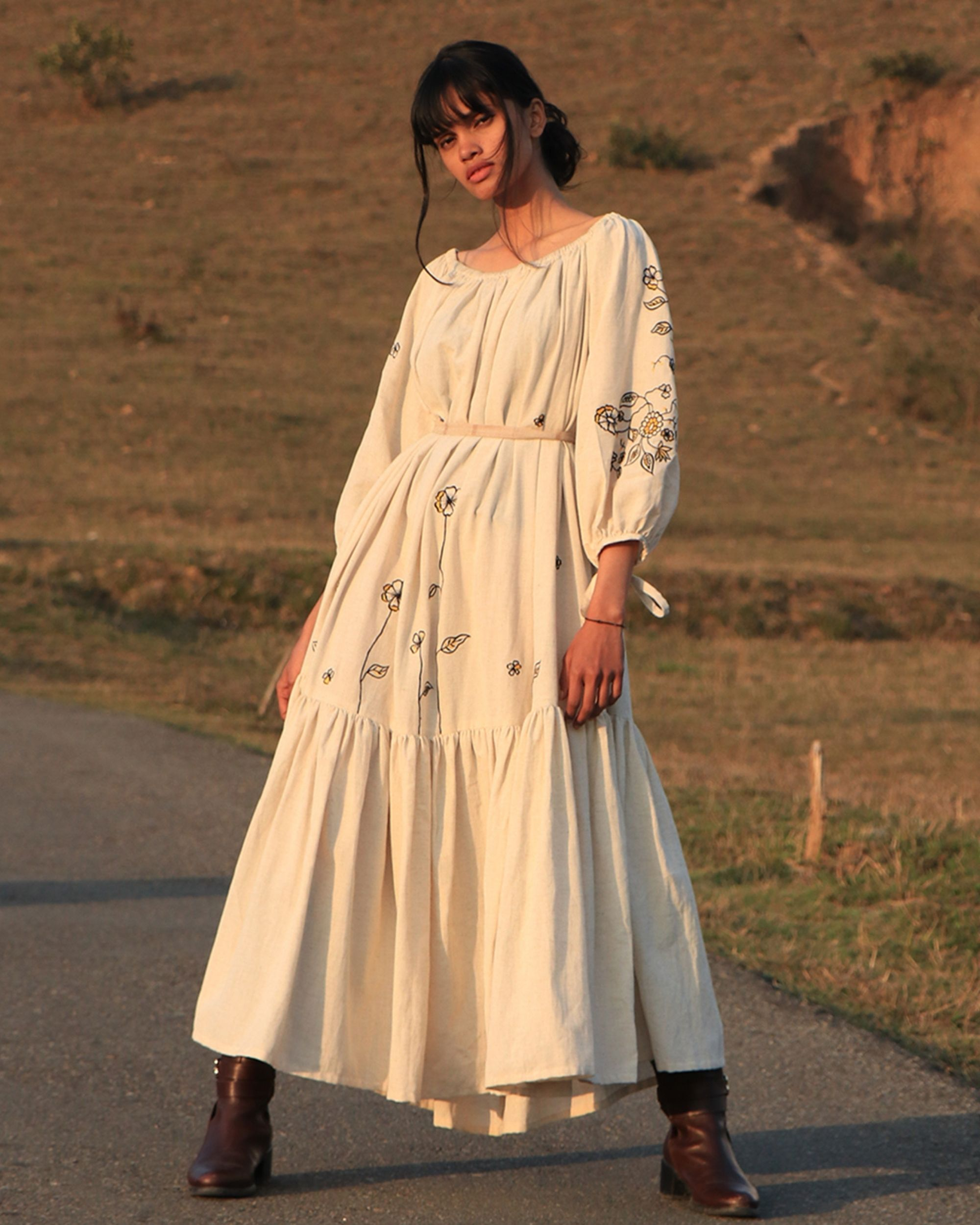 Off white tiered dress