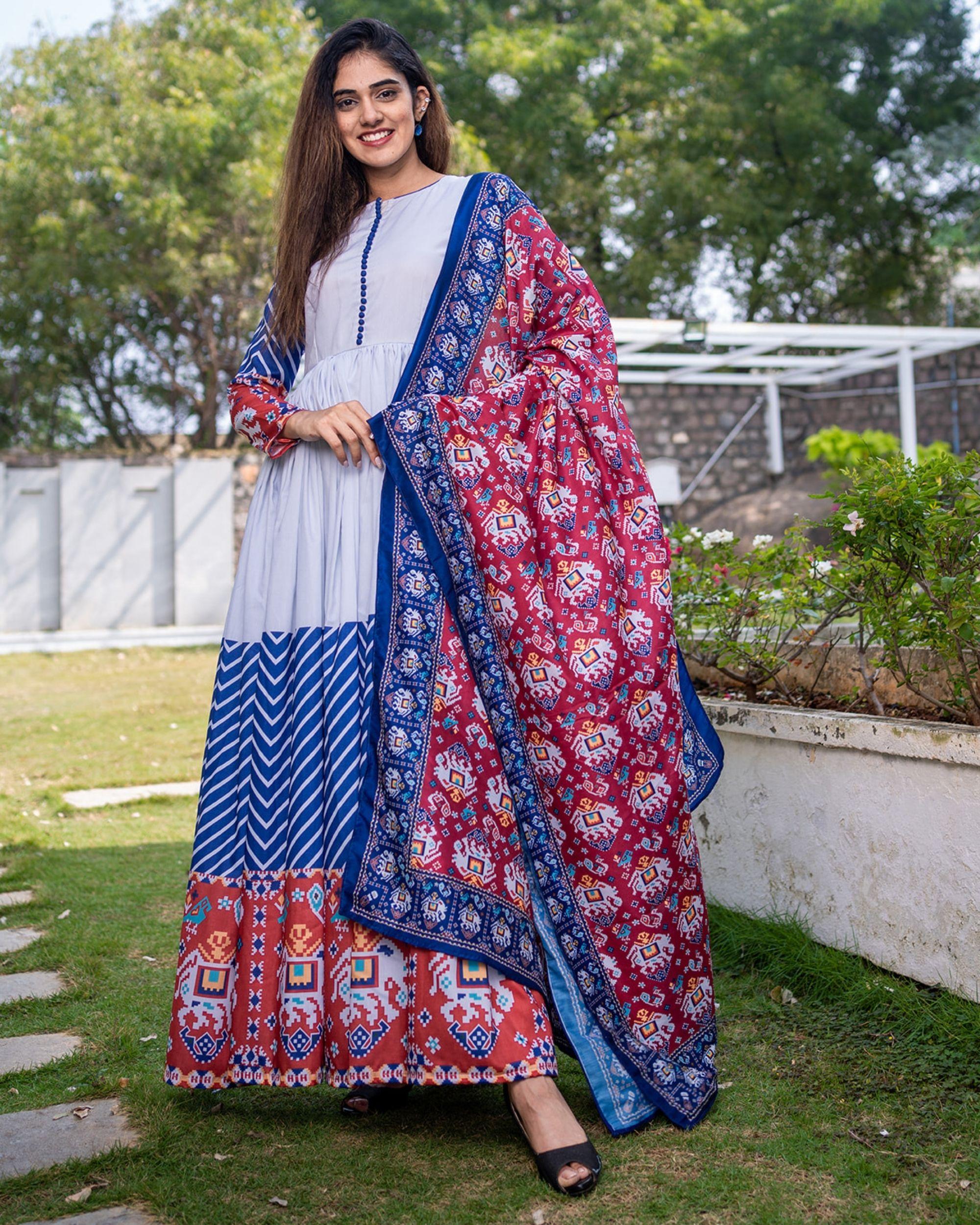 Patola printed gathered dress with dupatta - set of two