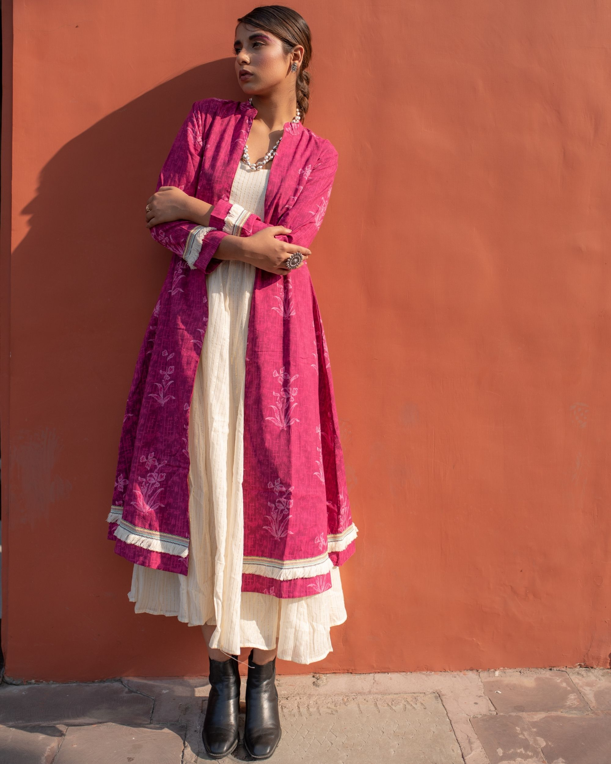 Magenta cape with off white spaghetti dress - set of two