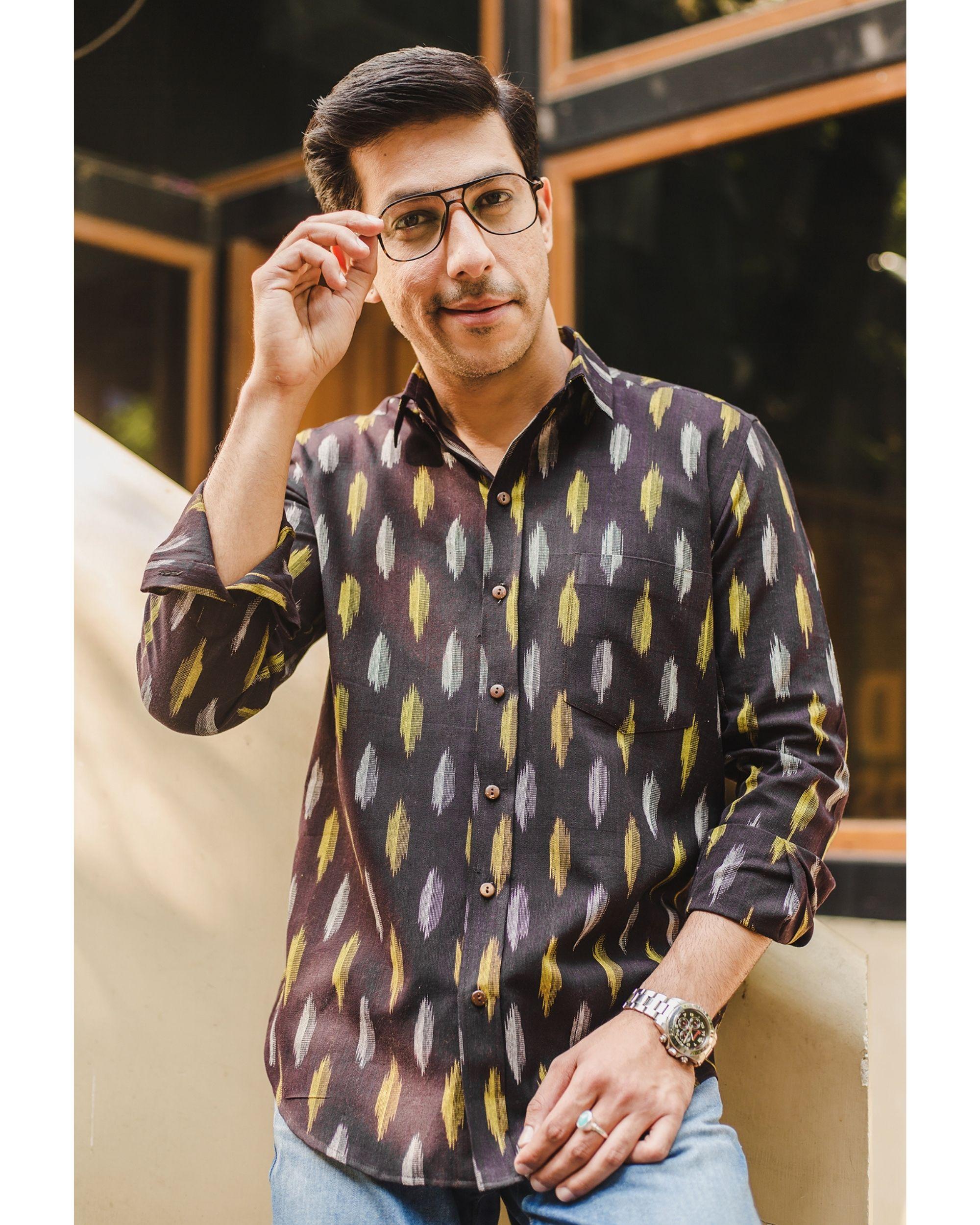 Black ikat weave shirt