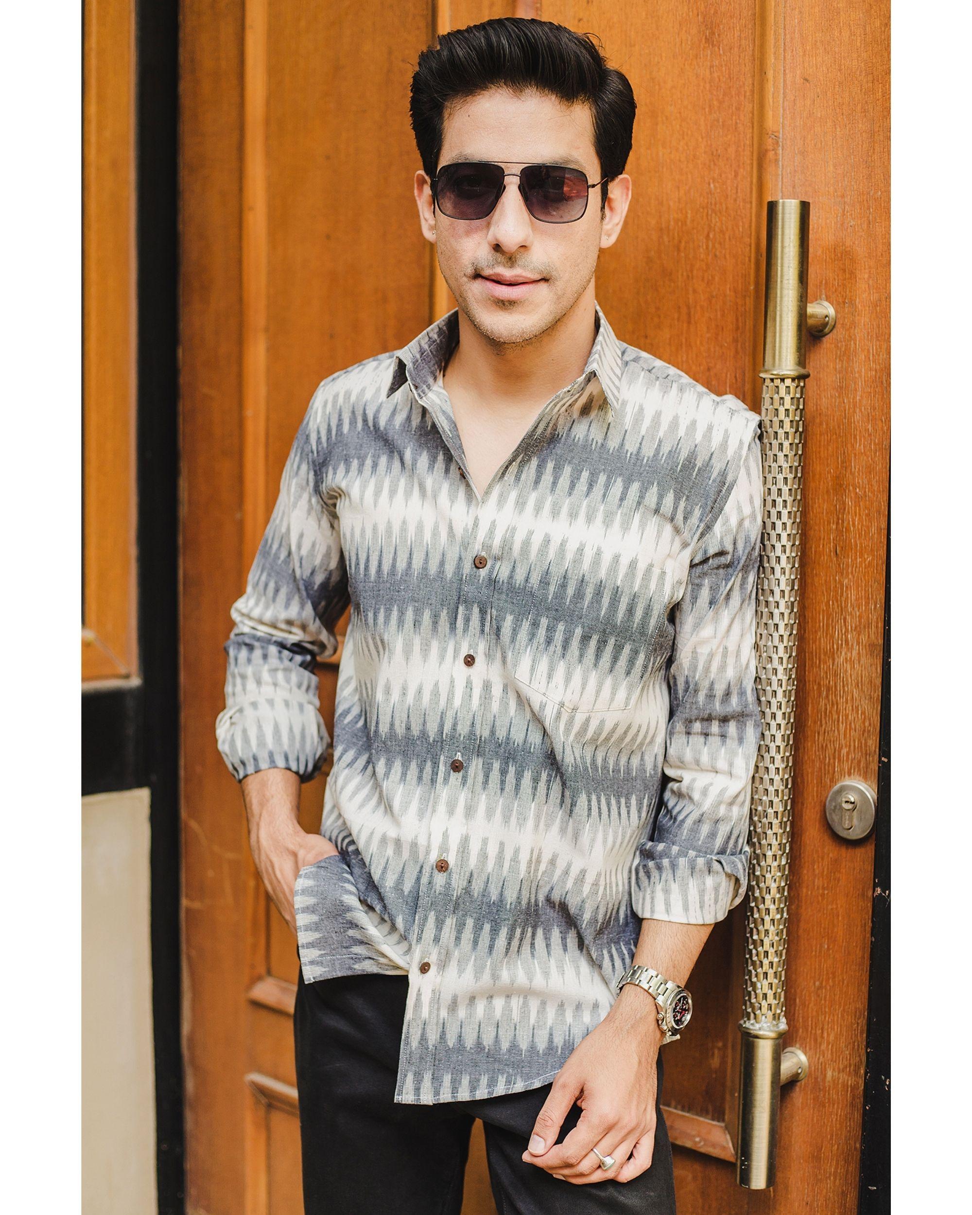 Grey and white ikat woven shirt