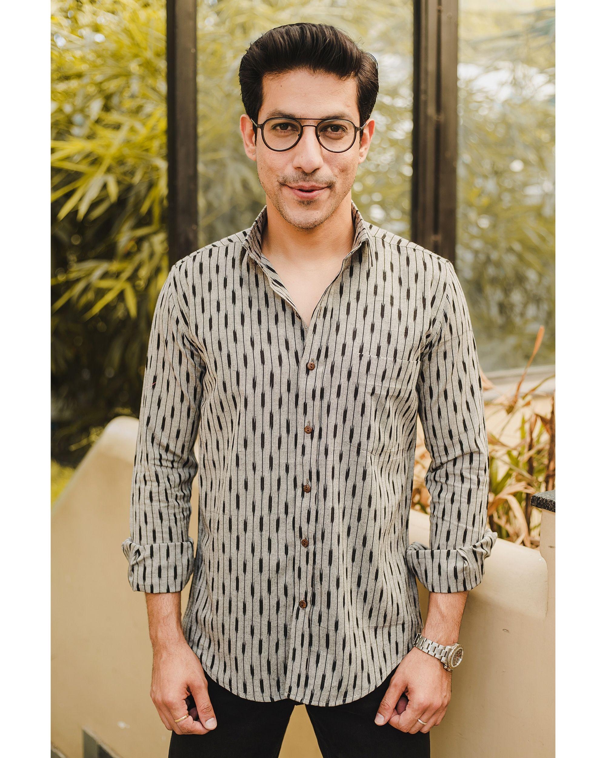 Grey black stripes ikat shirt