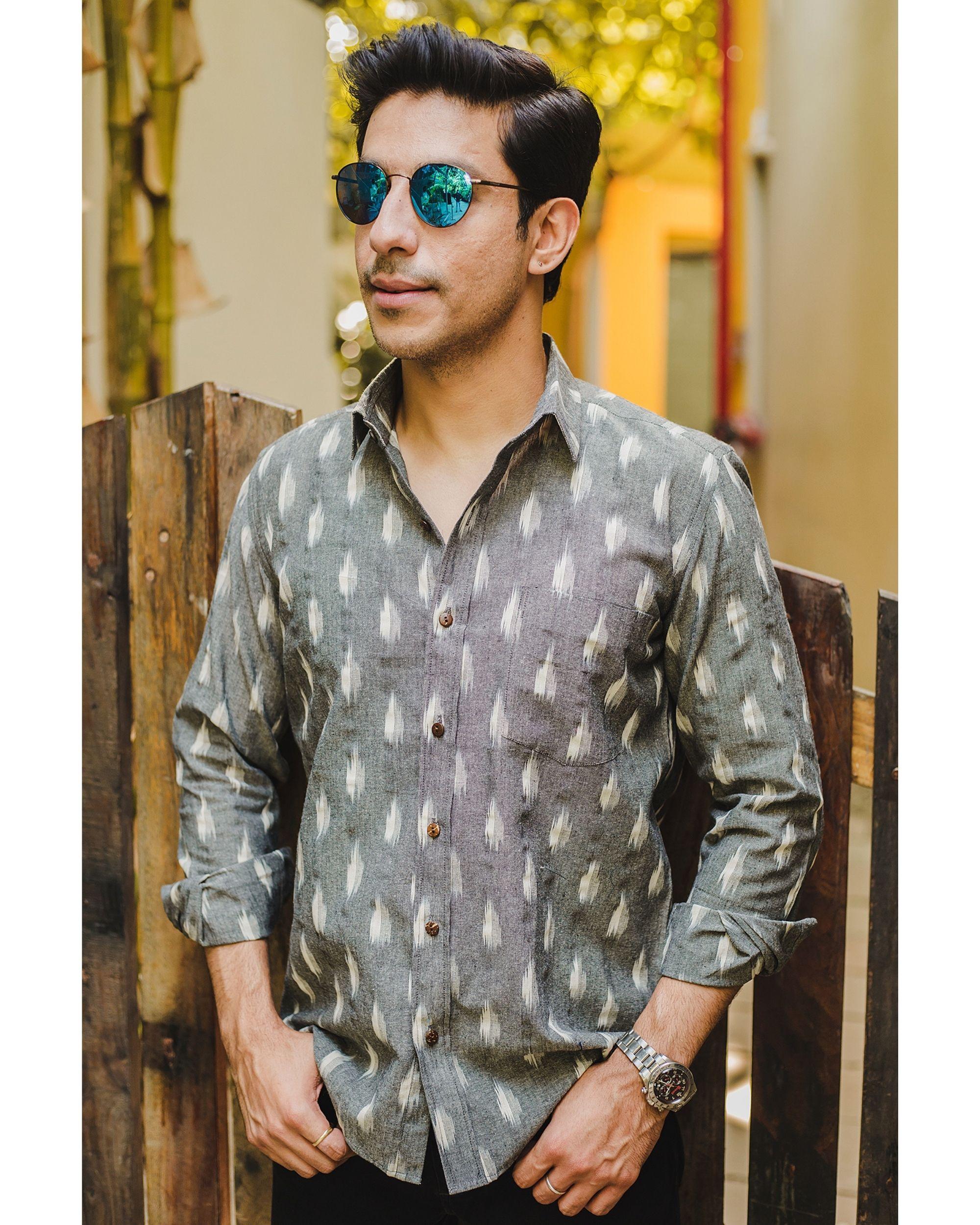 Grey ikat weave shirt