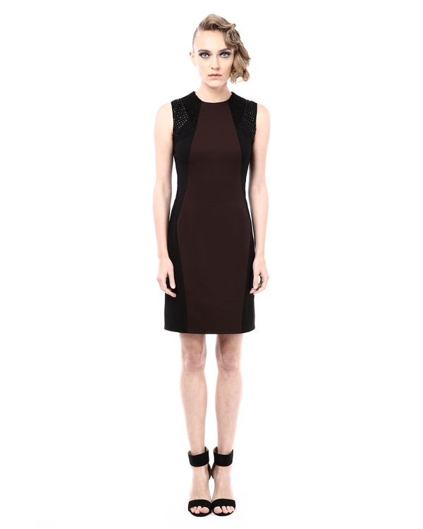 Leather detailed colorblock fitted dress