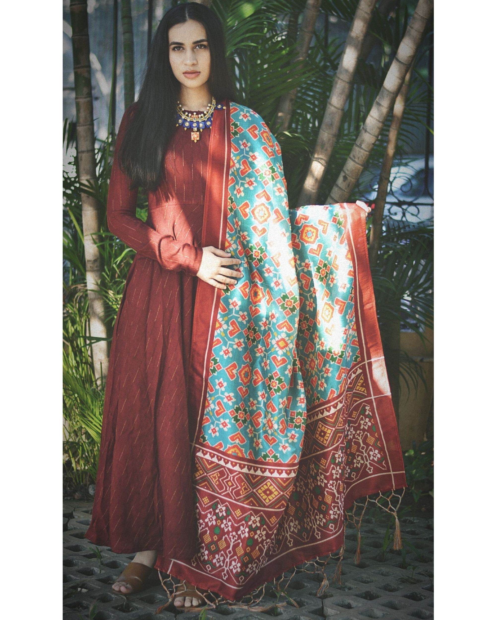 Maroon flared dress with light blue dupatta - set of two