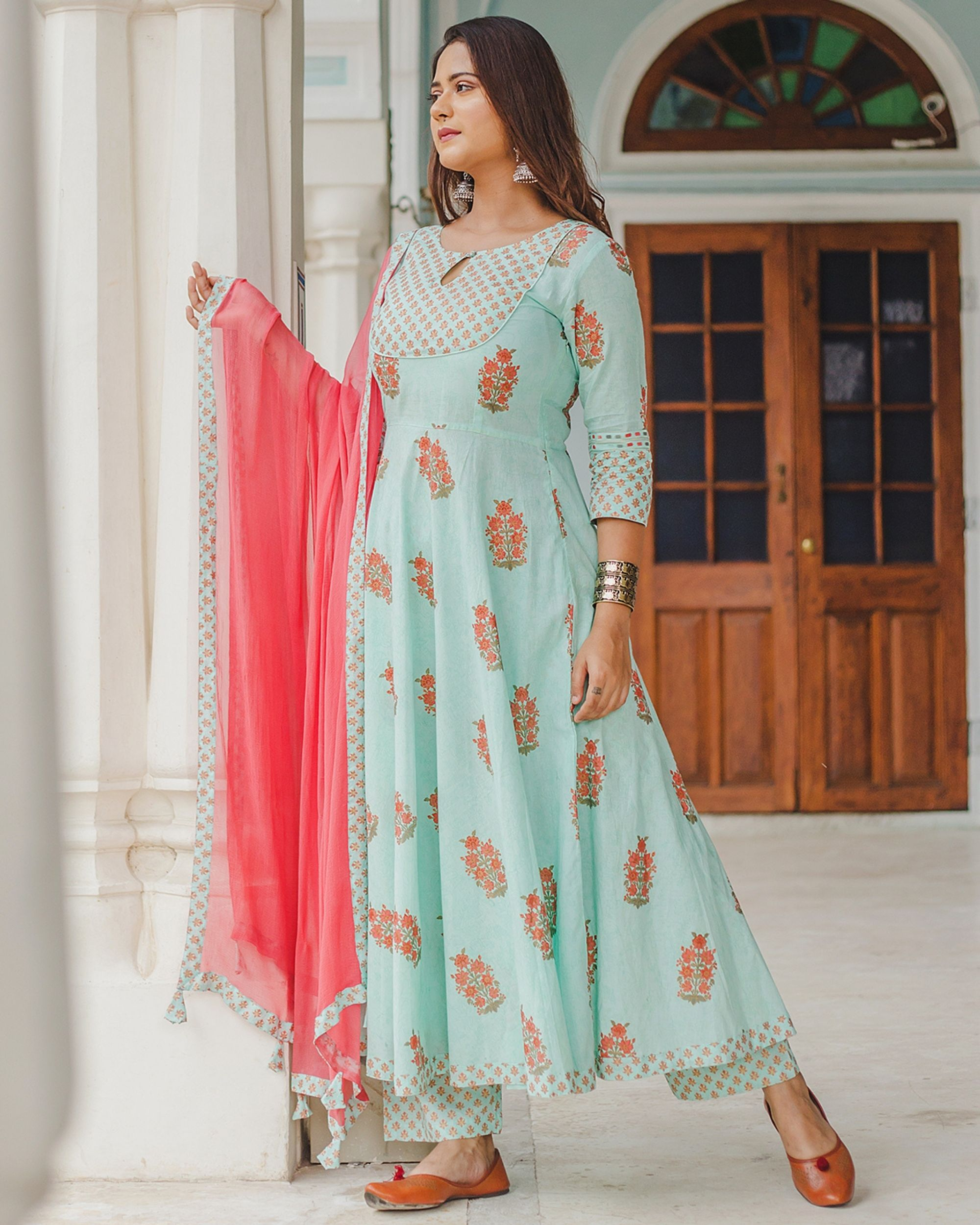 Pastel blue mughal dress set with dupatta - set of three