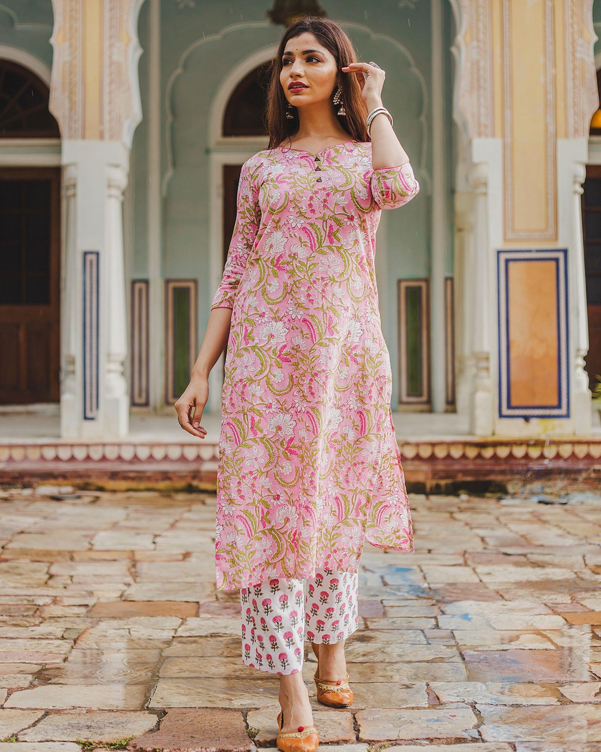 Pink floral mughal print set - set of two