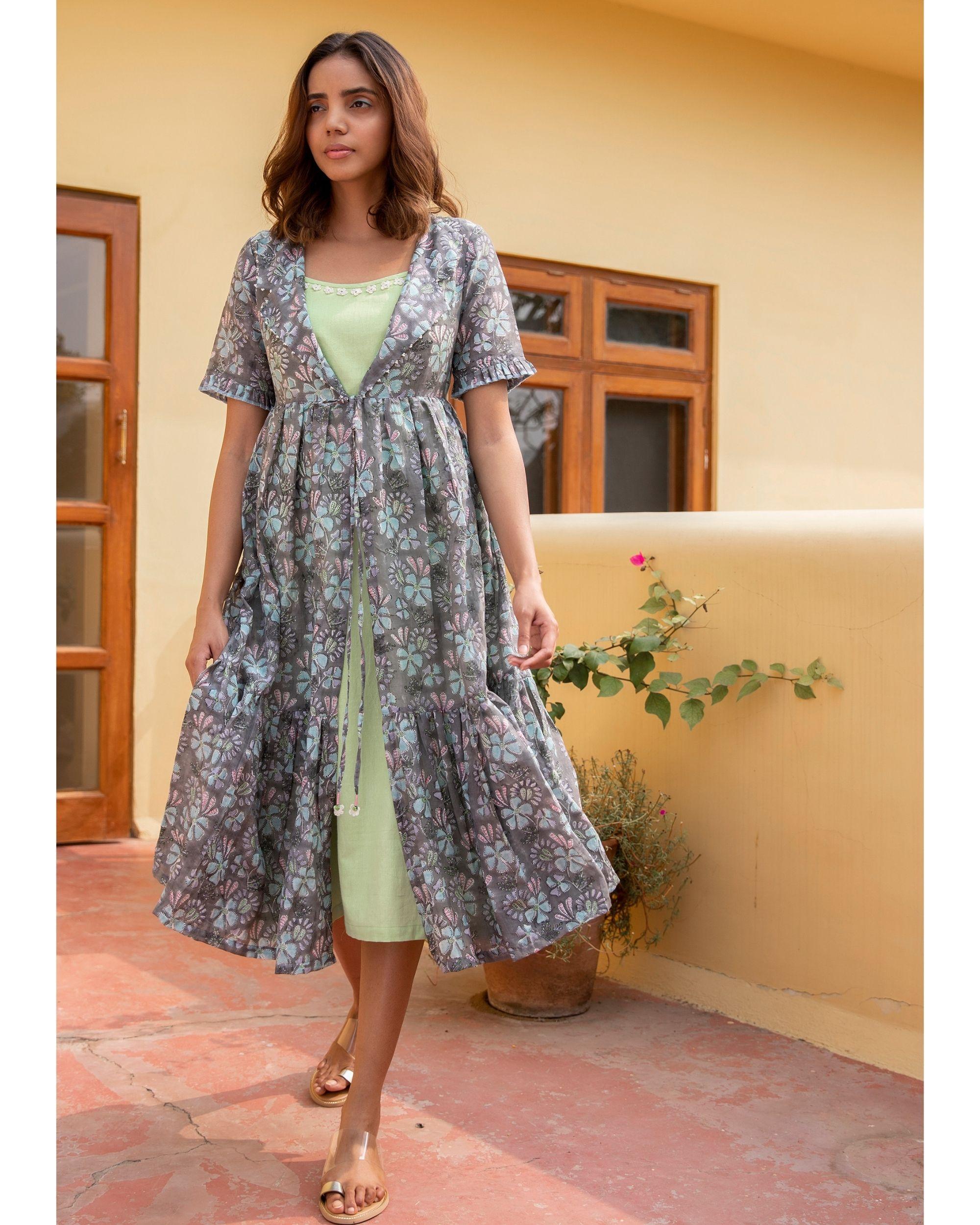 Botanic jacket dress with a slip - set of two