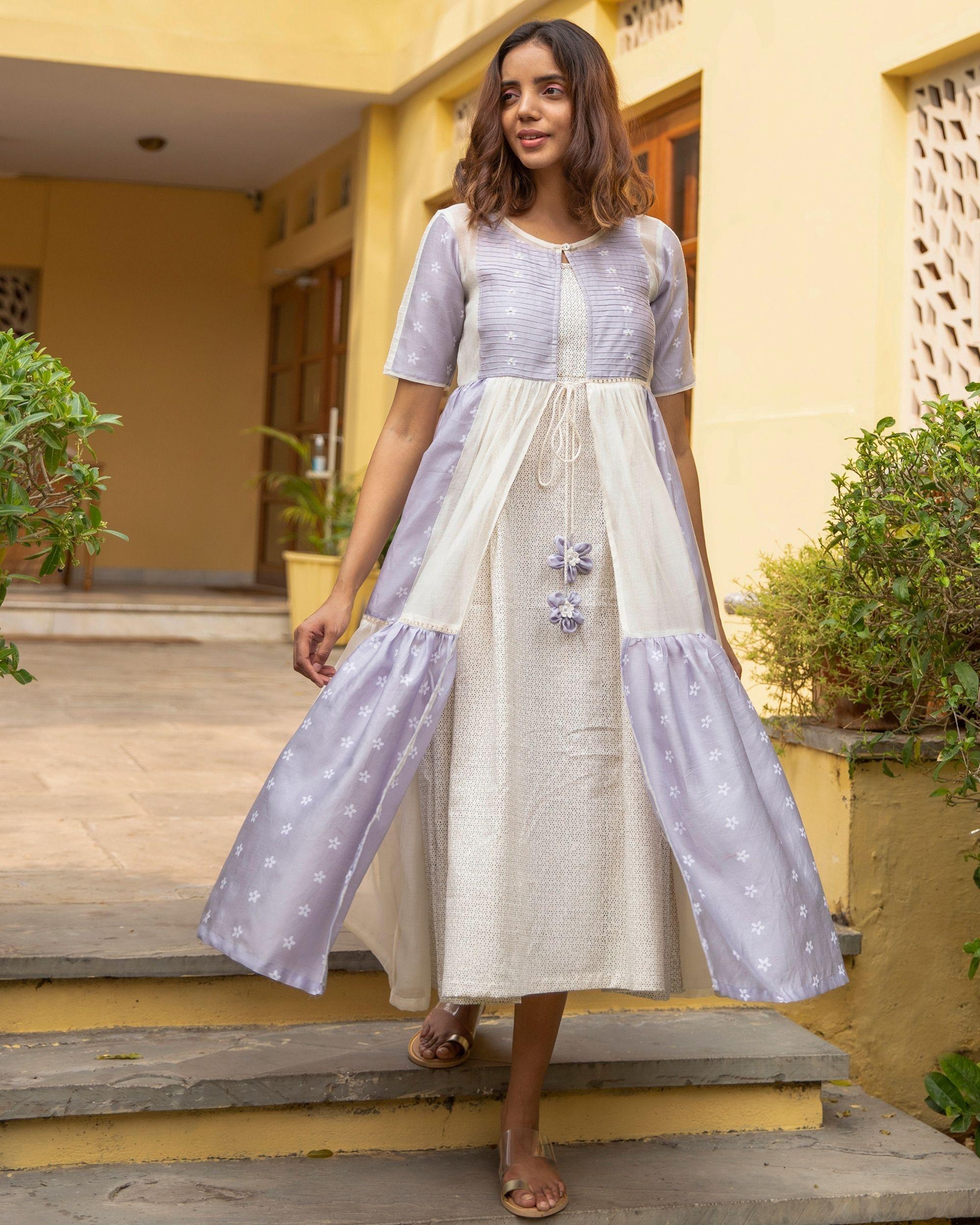 Lilac mogra tiered dress