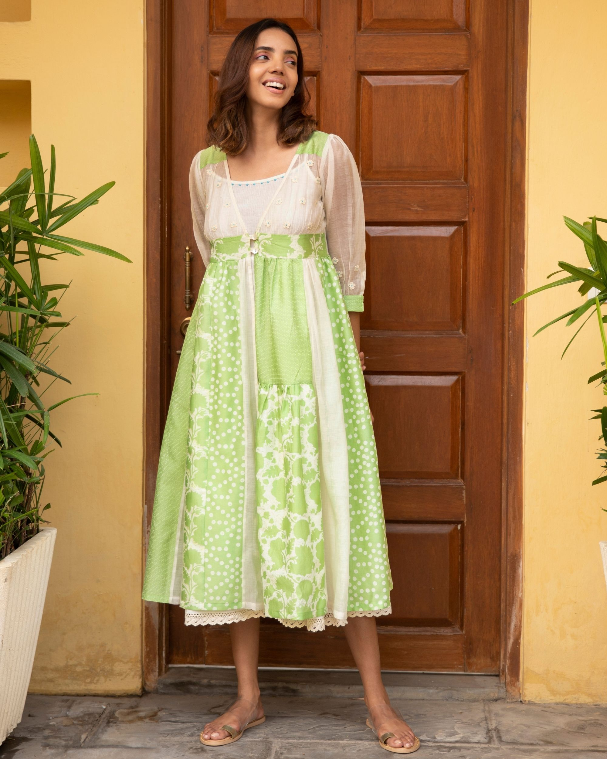 Lime kali dress with a slip - set of two