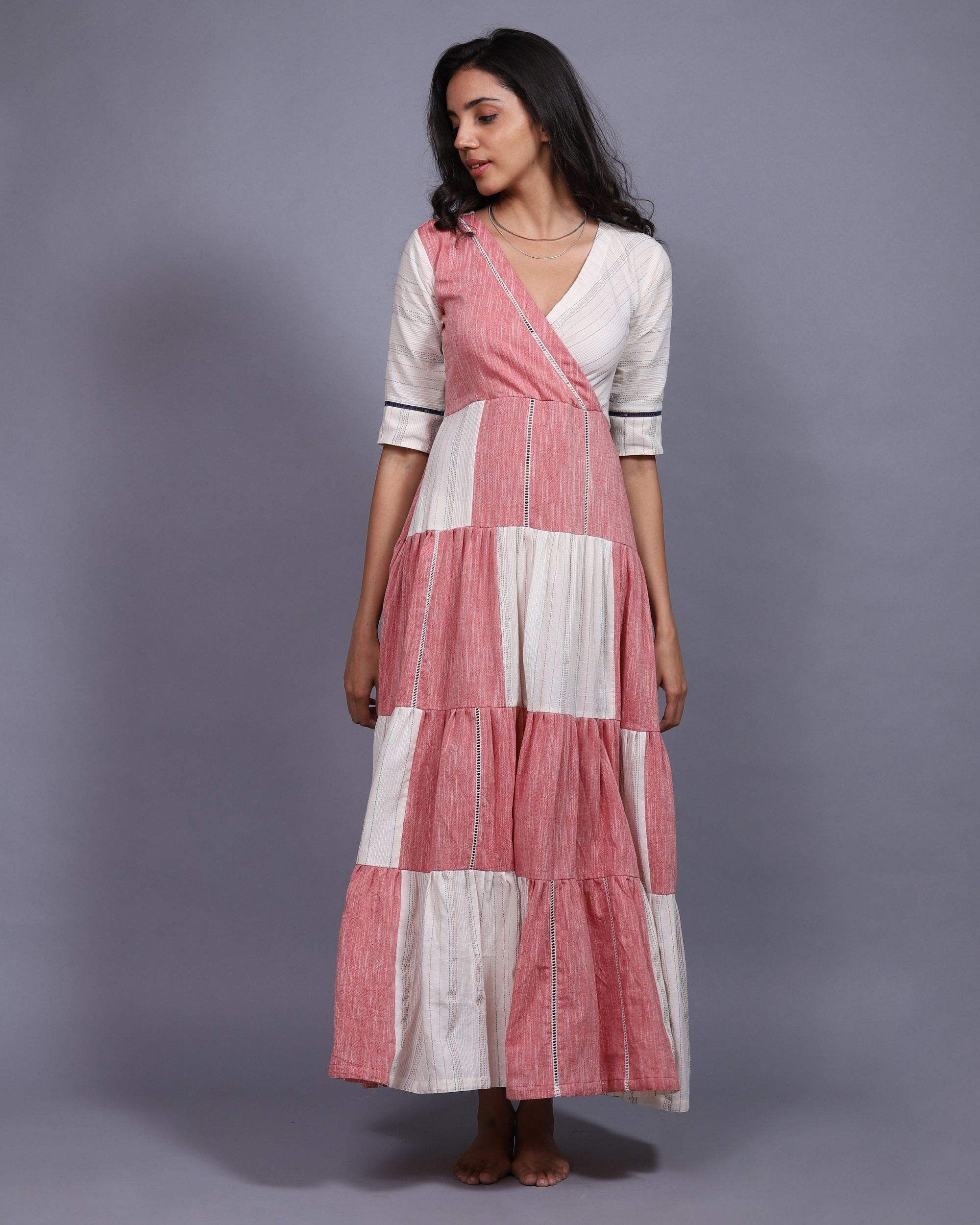 Patch tier dress with a slip - set of two