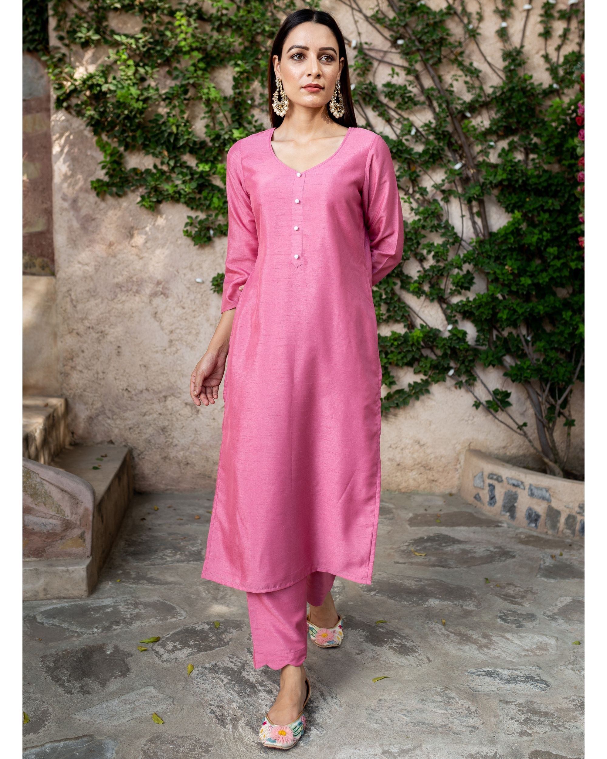 Blush pink silk suit - set of two