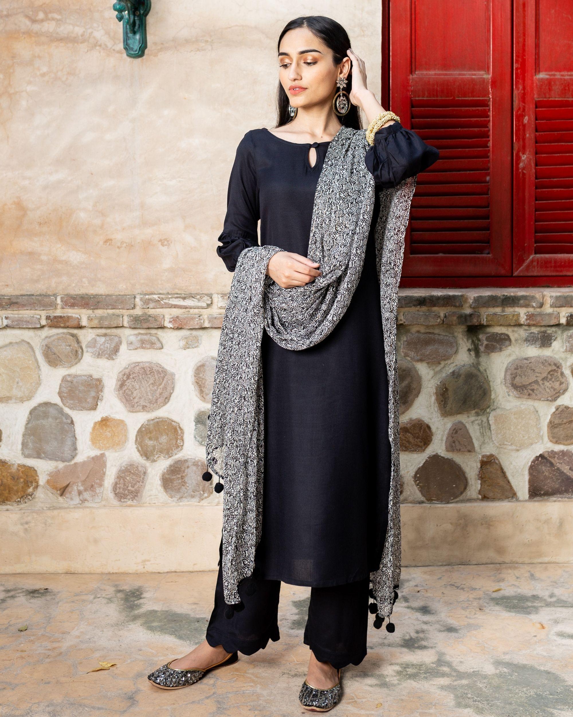 Black solid cotton suit with lurex dupatta - set of three