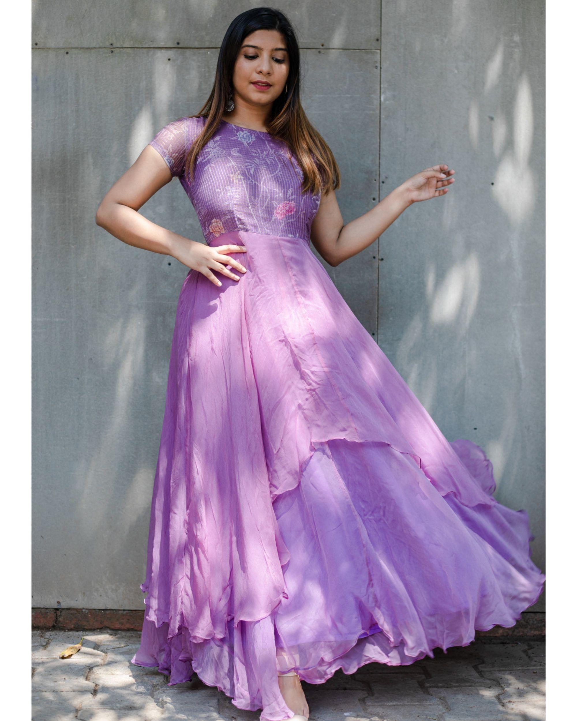 Lavender kota georgette dress