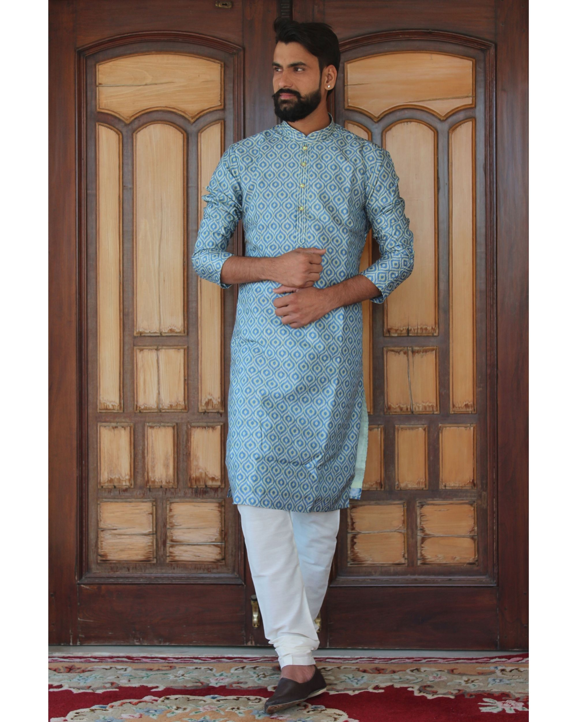 Azure geometric printed kurta set - set of two