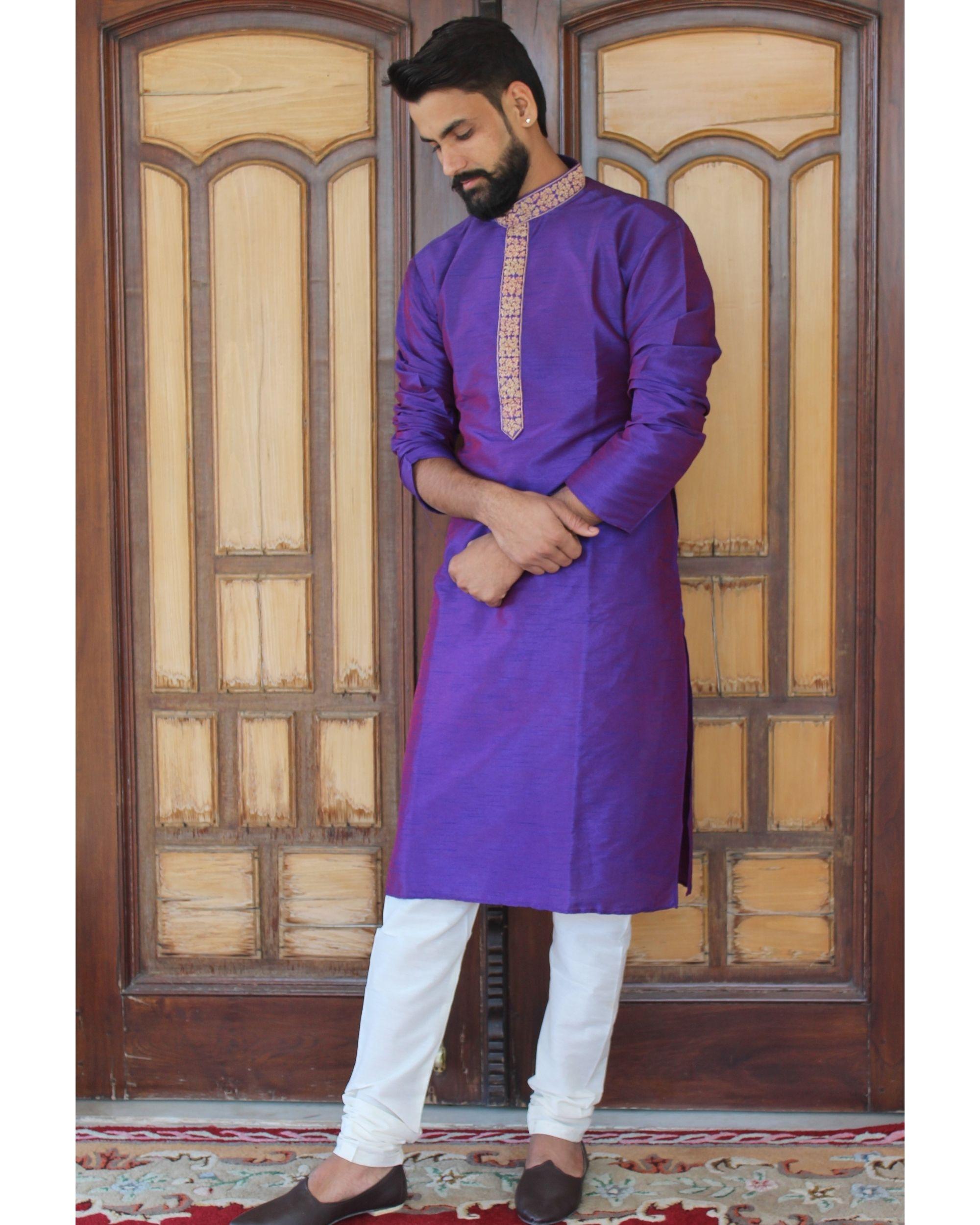 Solid violet kurta set - set of two